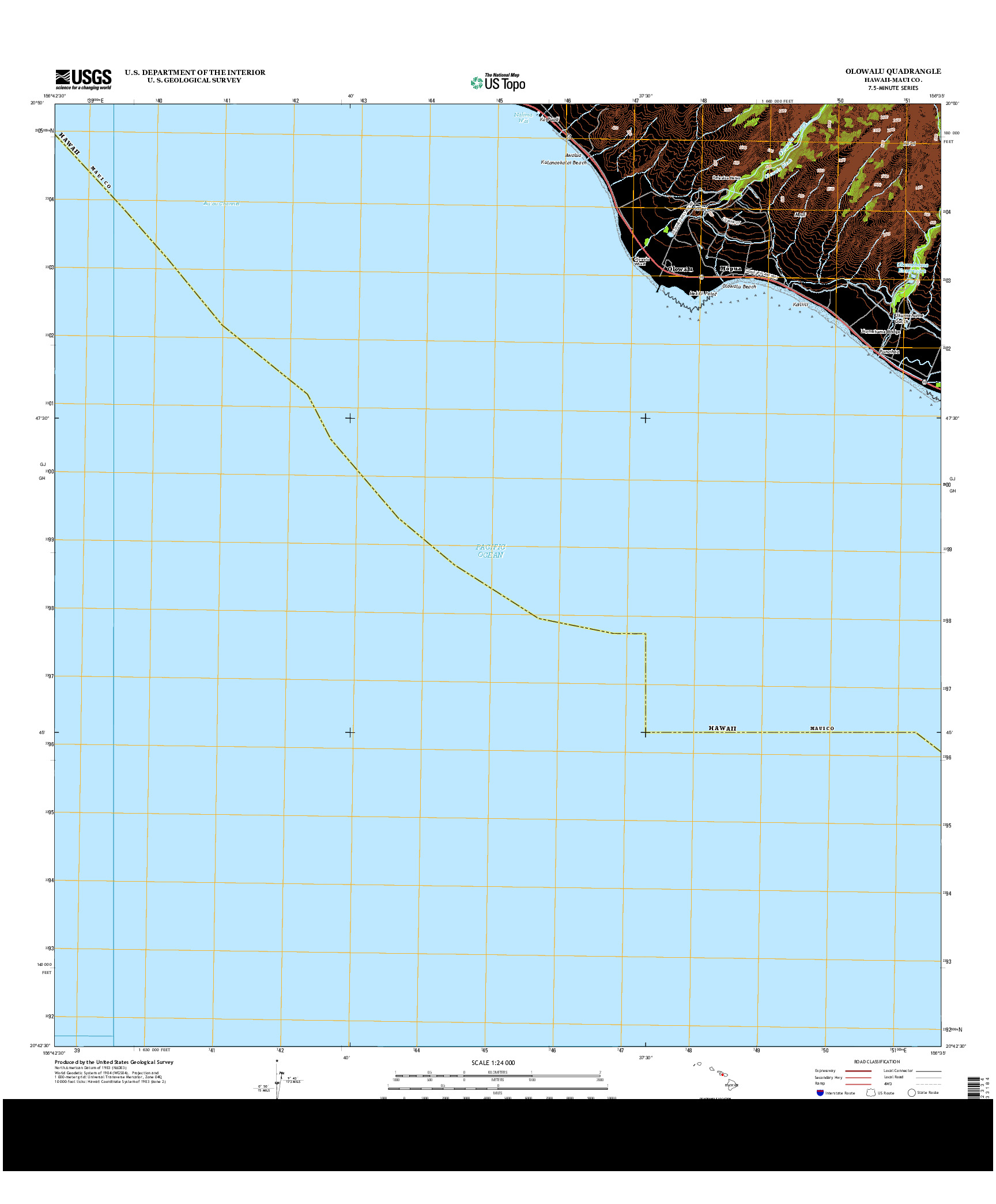 USGS US TOPO 7.5-MINUTE MAP FOR OLOWALU, HI 2013