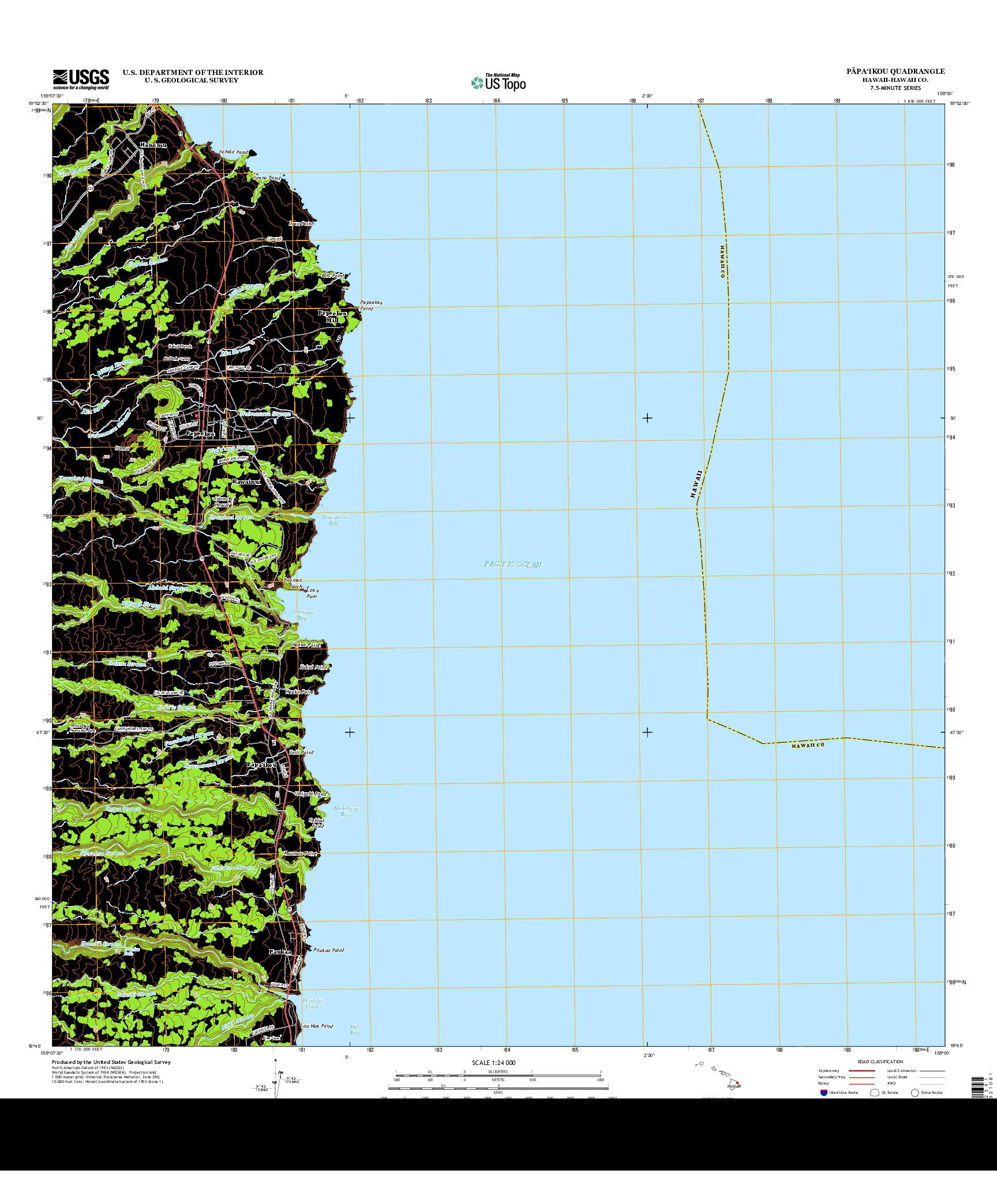 USGS US TOPO 7.5-MINUTE MAP FOR PAPA`IKOU, HI 2013