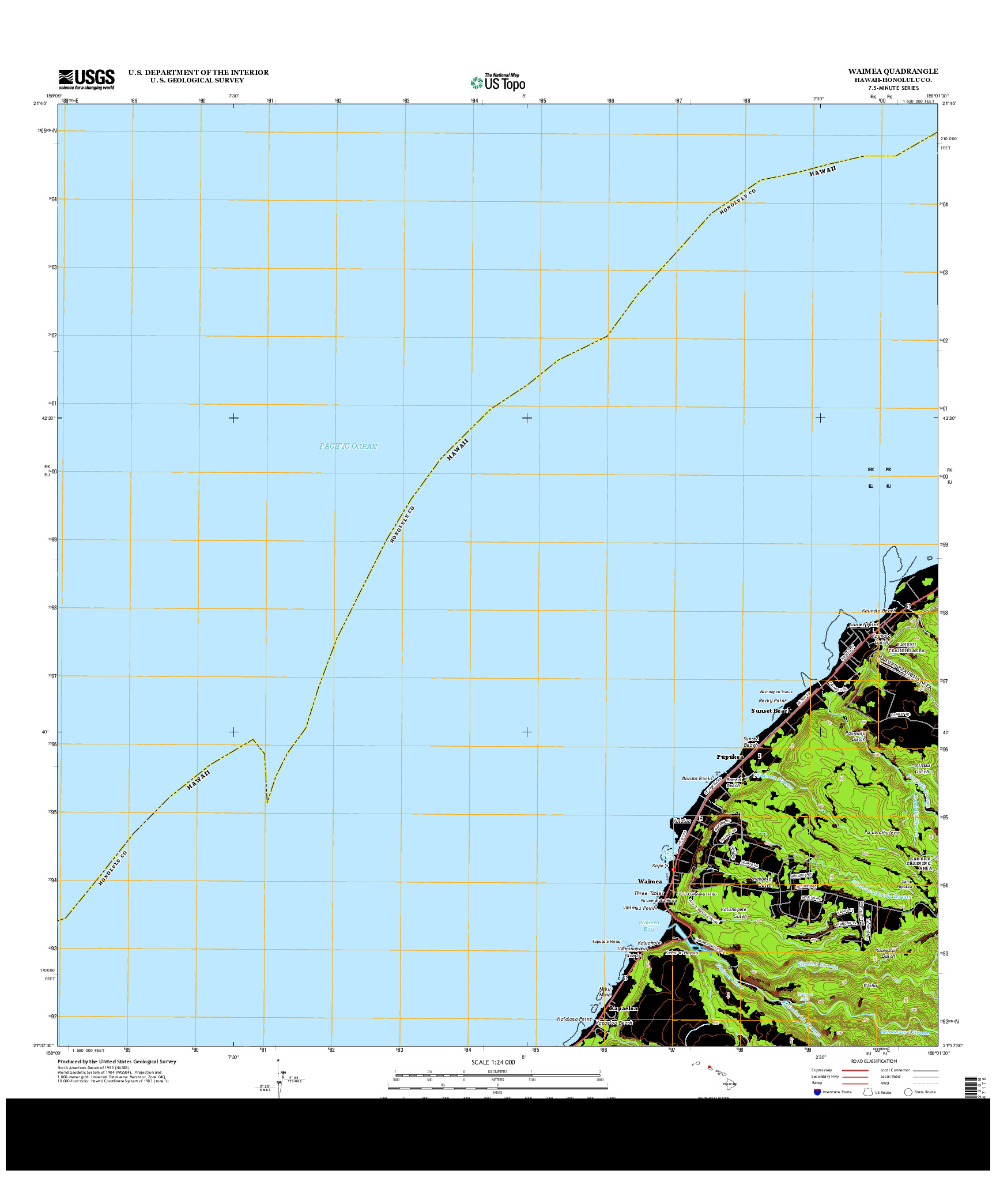 USGS US TOPO 7.5-MINUTE MAP FOR WAIMEA, HI 2013