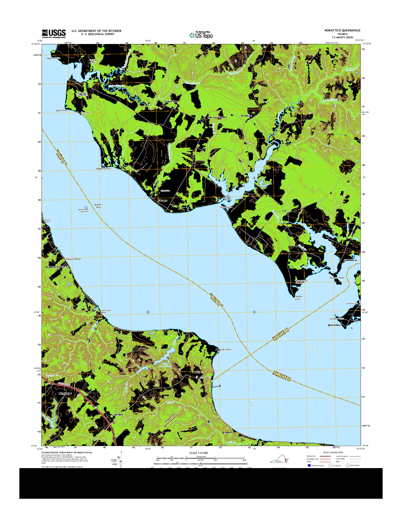 USGS US TOPO 7.5-MINUTE MAP FOR MORATTICO, VA 2014