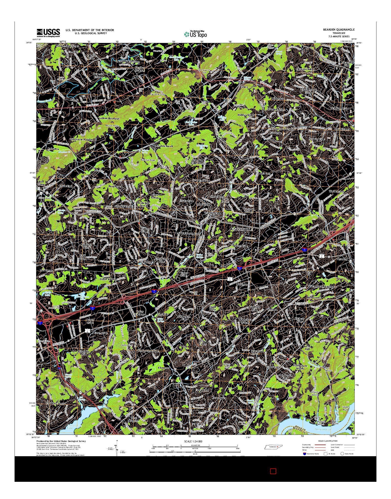 USGS US TOPO 7.5-MINUTE MAP FOR BEARDEN, TN 2014