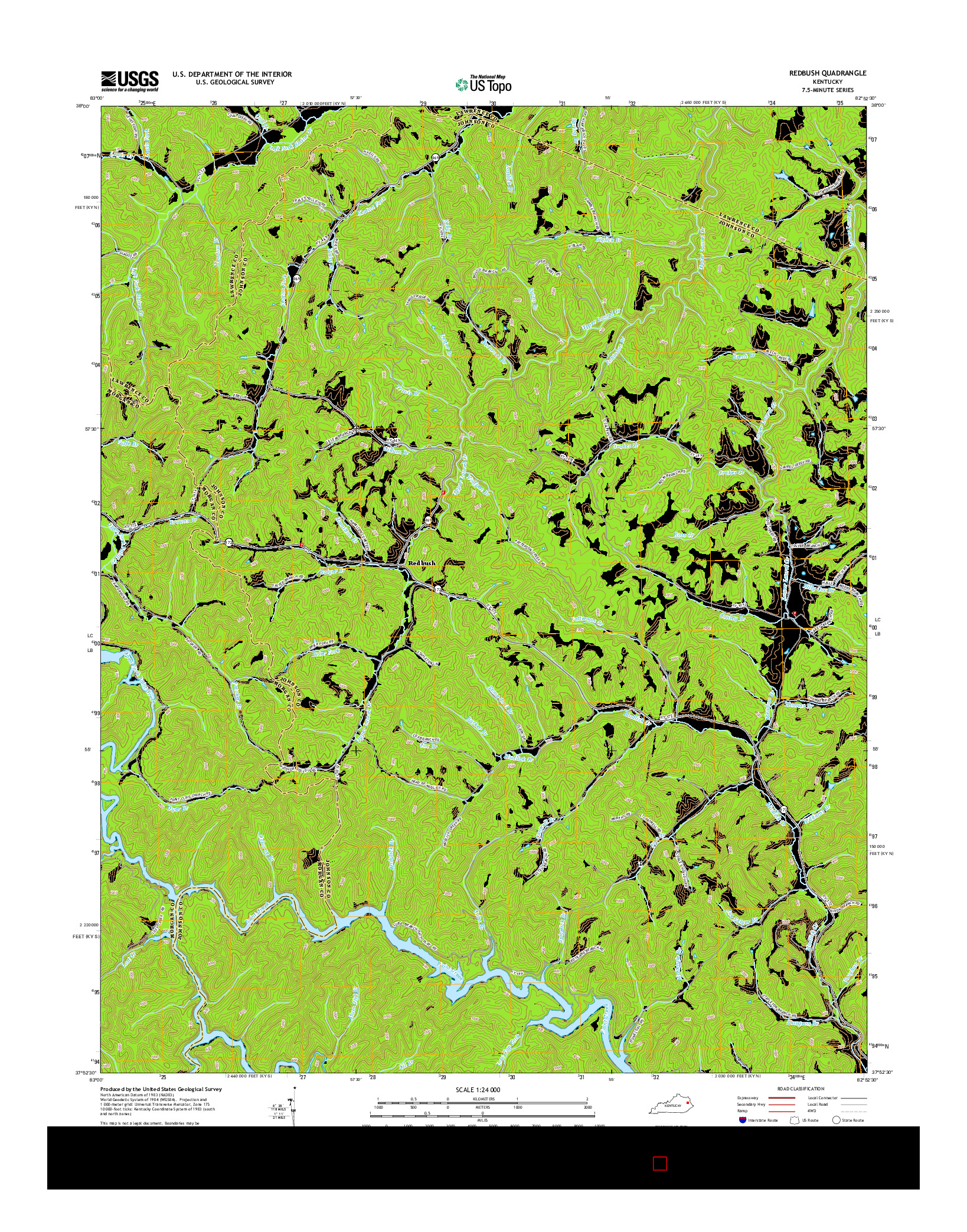 USGS US TOPO 7.5-MINUTE MAP FOR REDBUSH, KY 2014