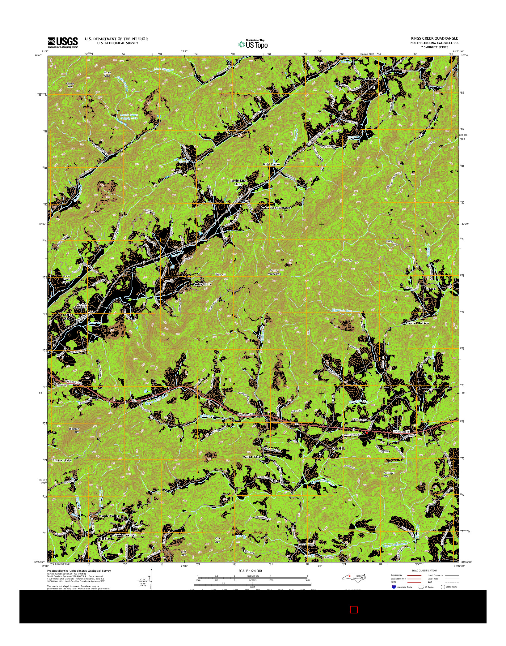 USGS US TOPO 7.5-MINUTE MAP FOR KINGS CREEK, NC 2014