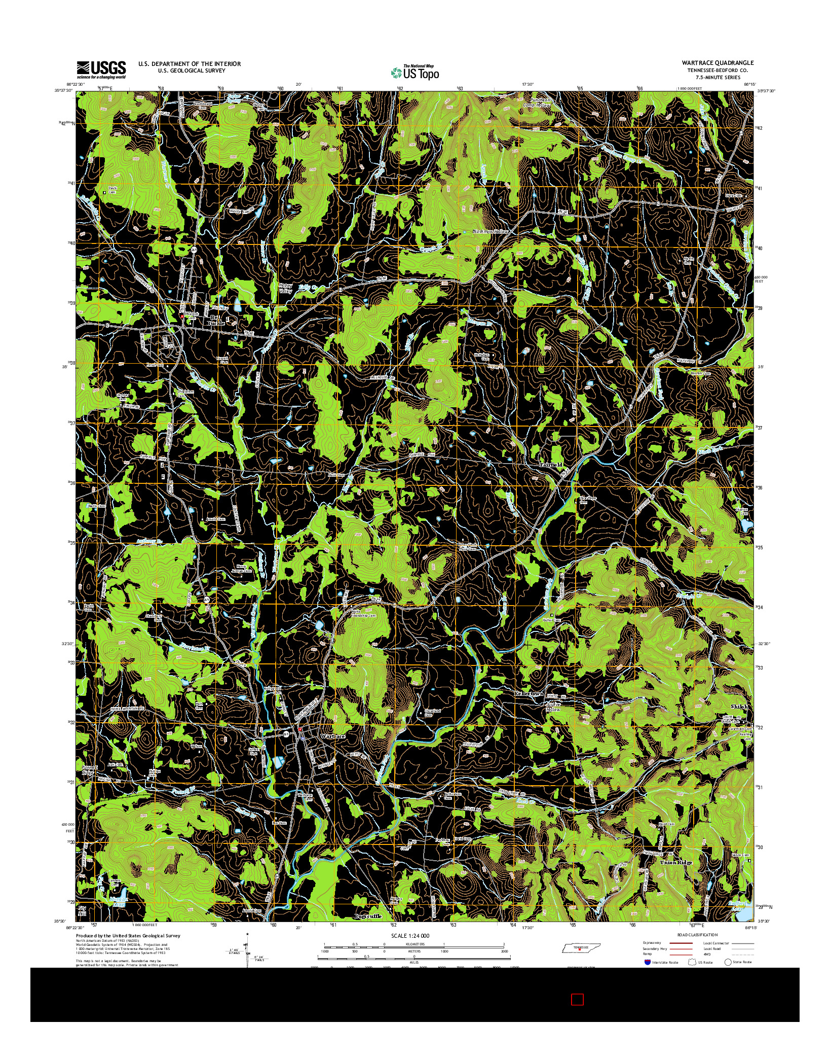 USGS US TOPO 7.5-MINUTE MAP FOR WARTRACE, TN 2014