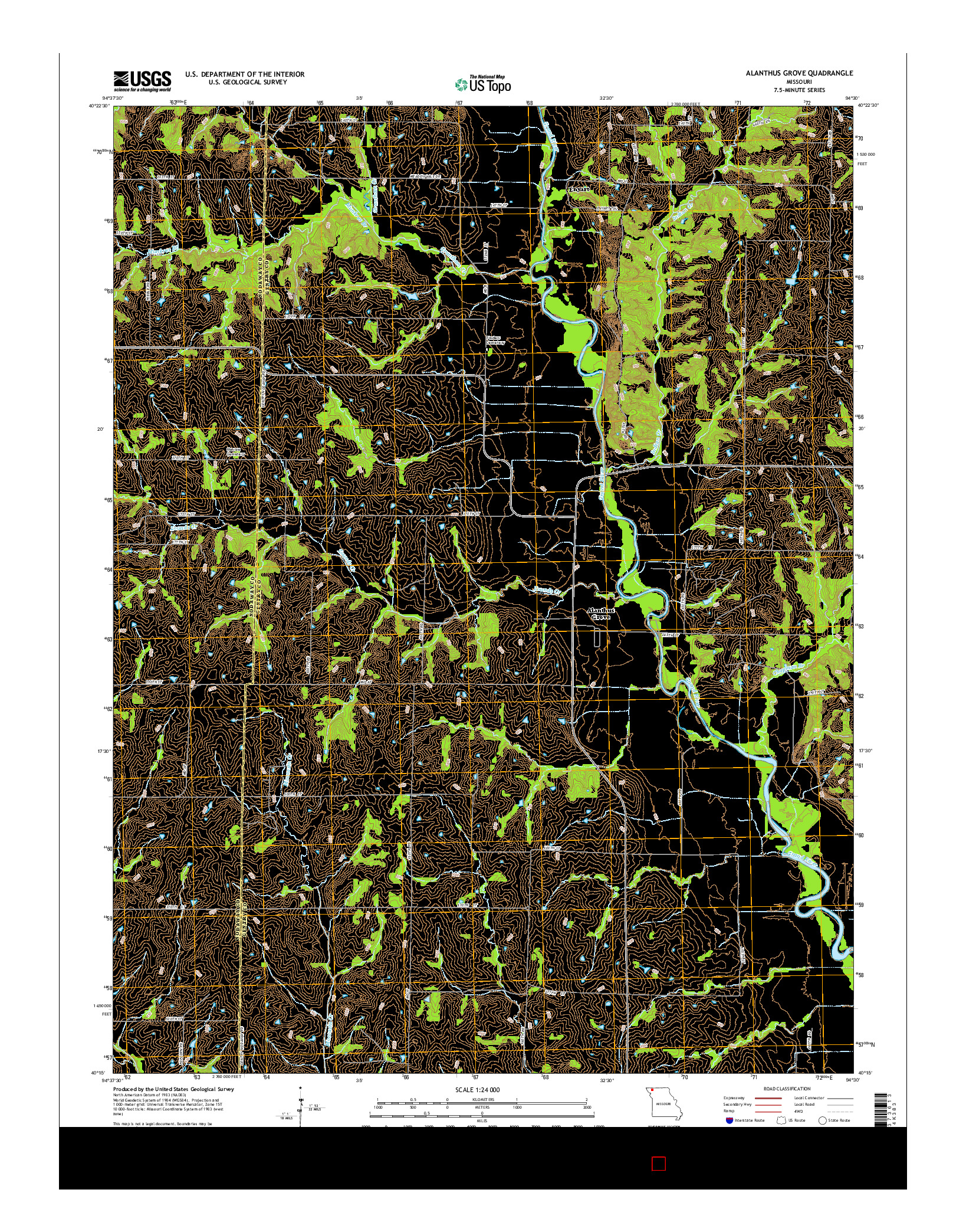 USGS US TOPO 7.5-MINUTE MAP FOR ALANTHUS GROVE, MO 2014