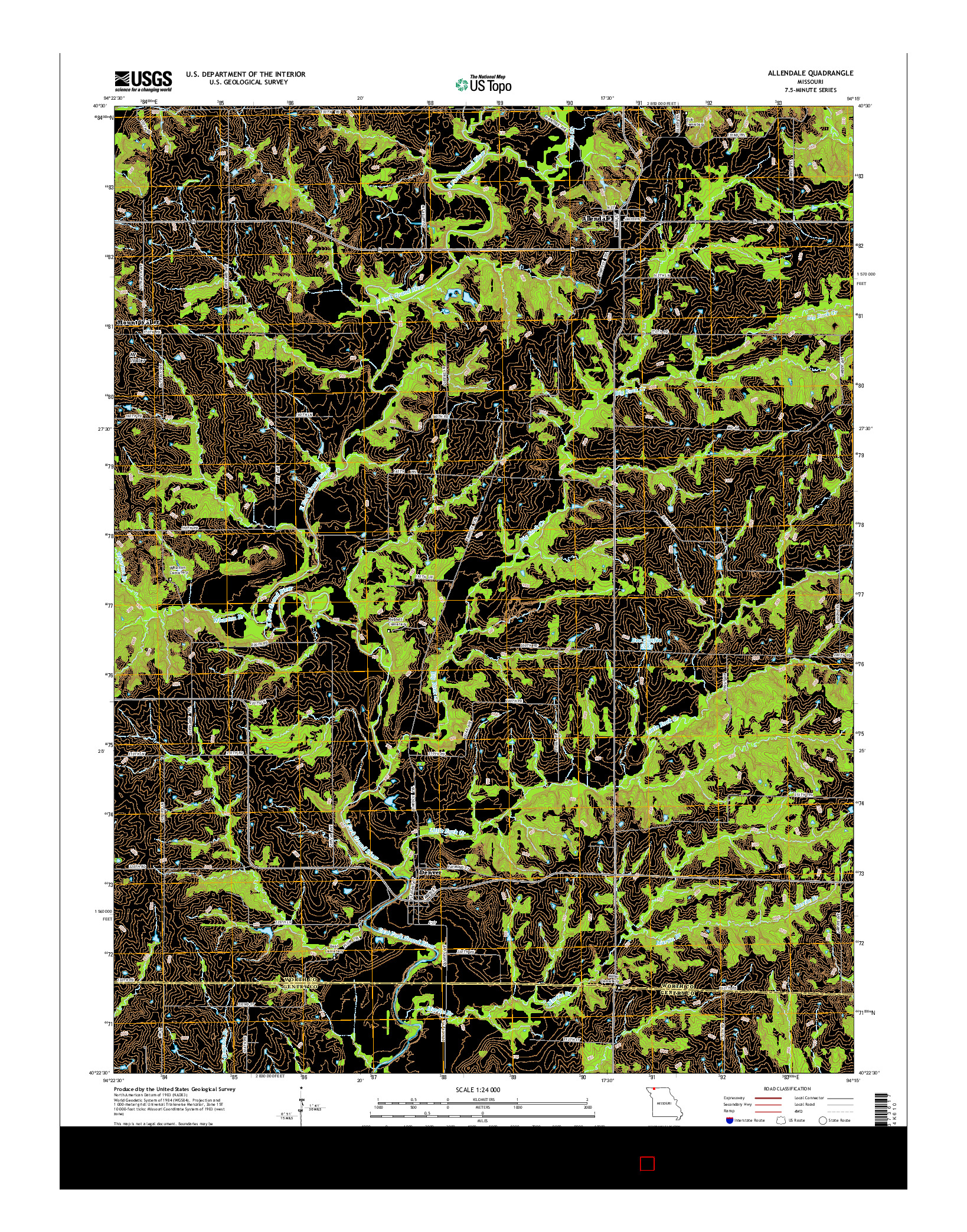 USGS US TOPO 7.5-MINUTE MAP FOR ALLENDALE, MO 2014