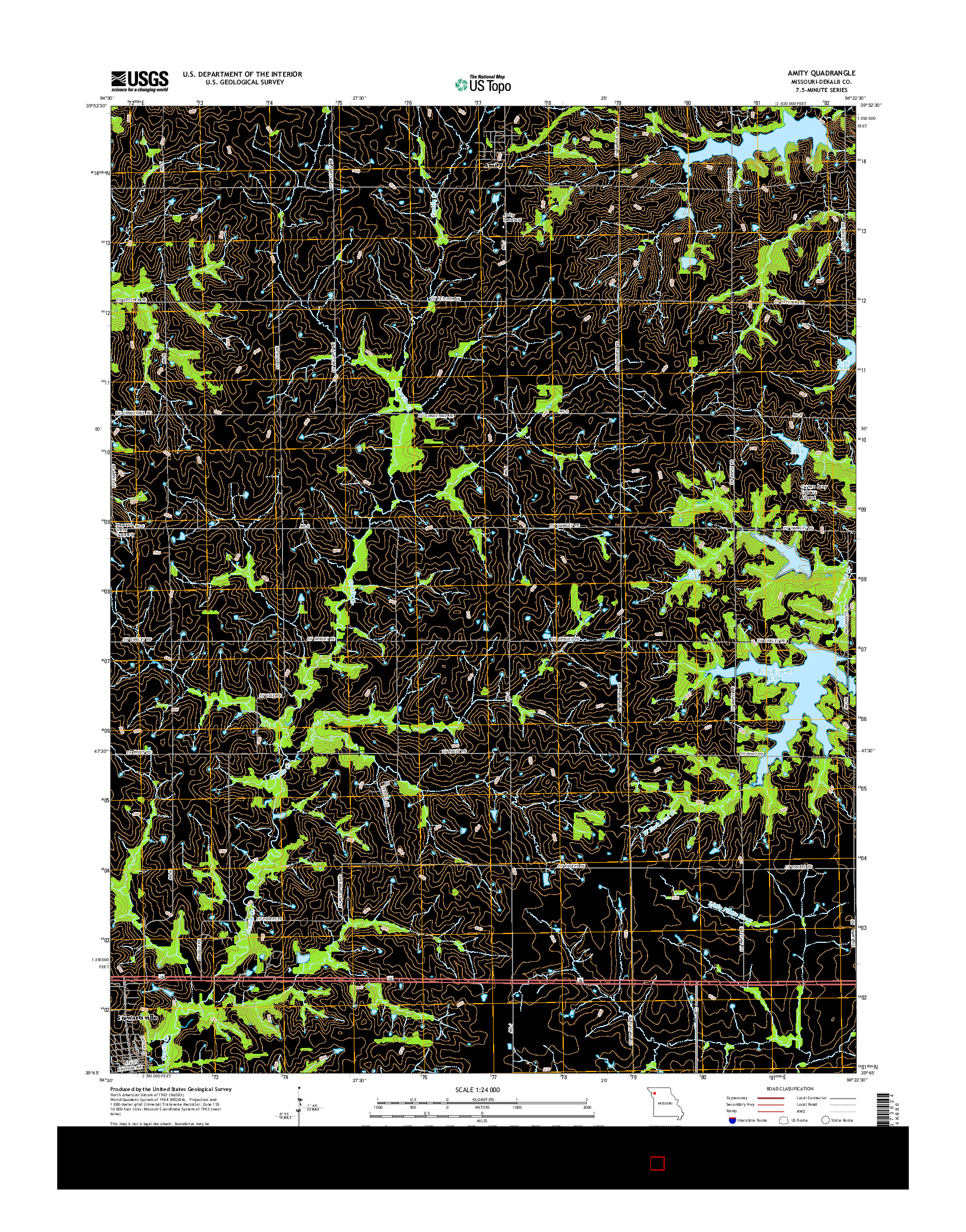 USGS US TOPO 7.5-MINUTE MAP FOR AMITY, MO 2014
