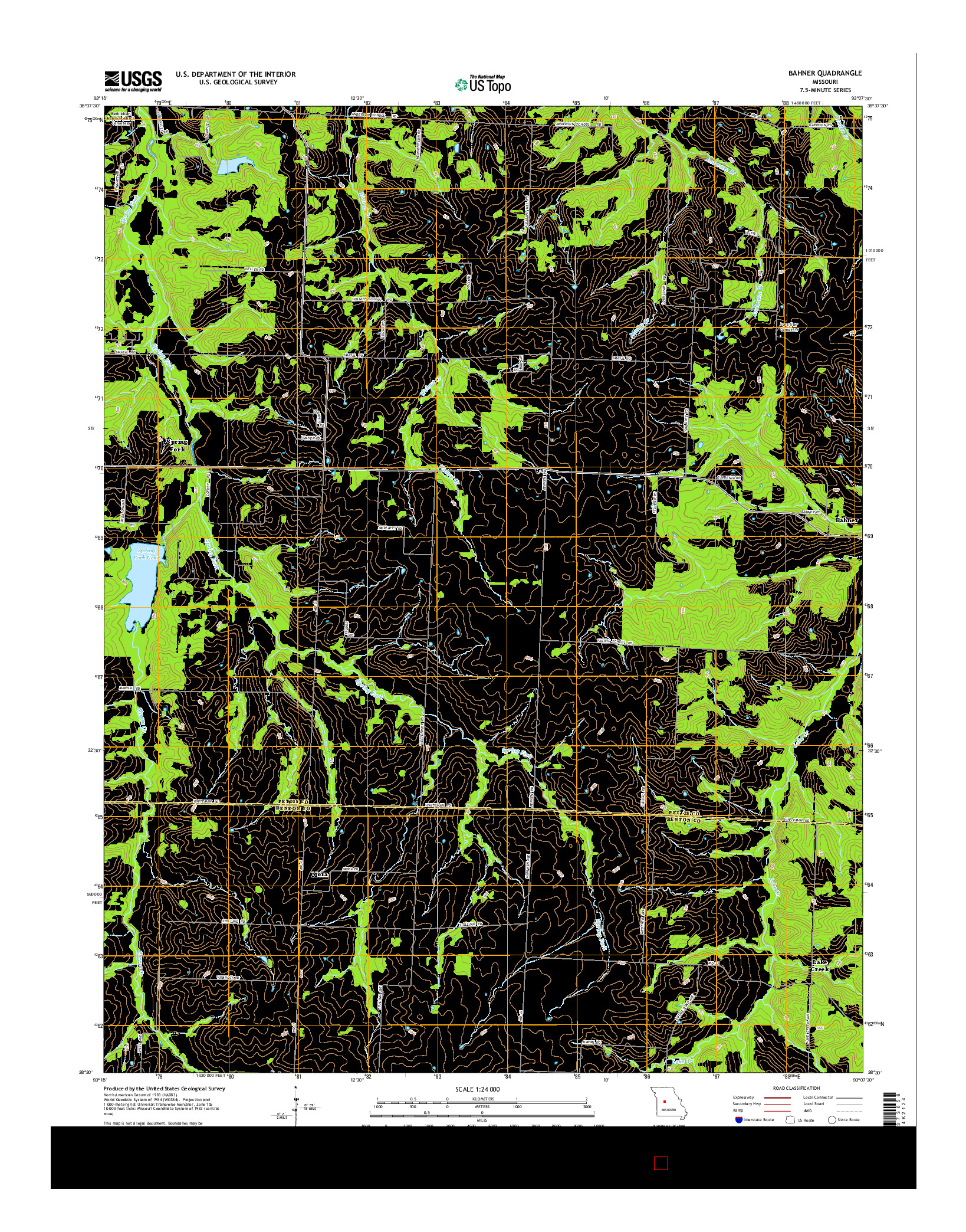 USGS US TOPO 7.5-MINUTE MAP FOR BAHNER, MO 2014
