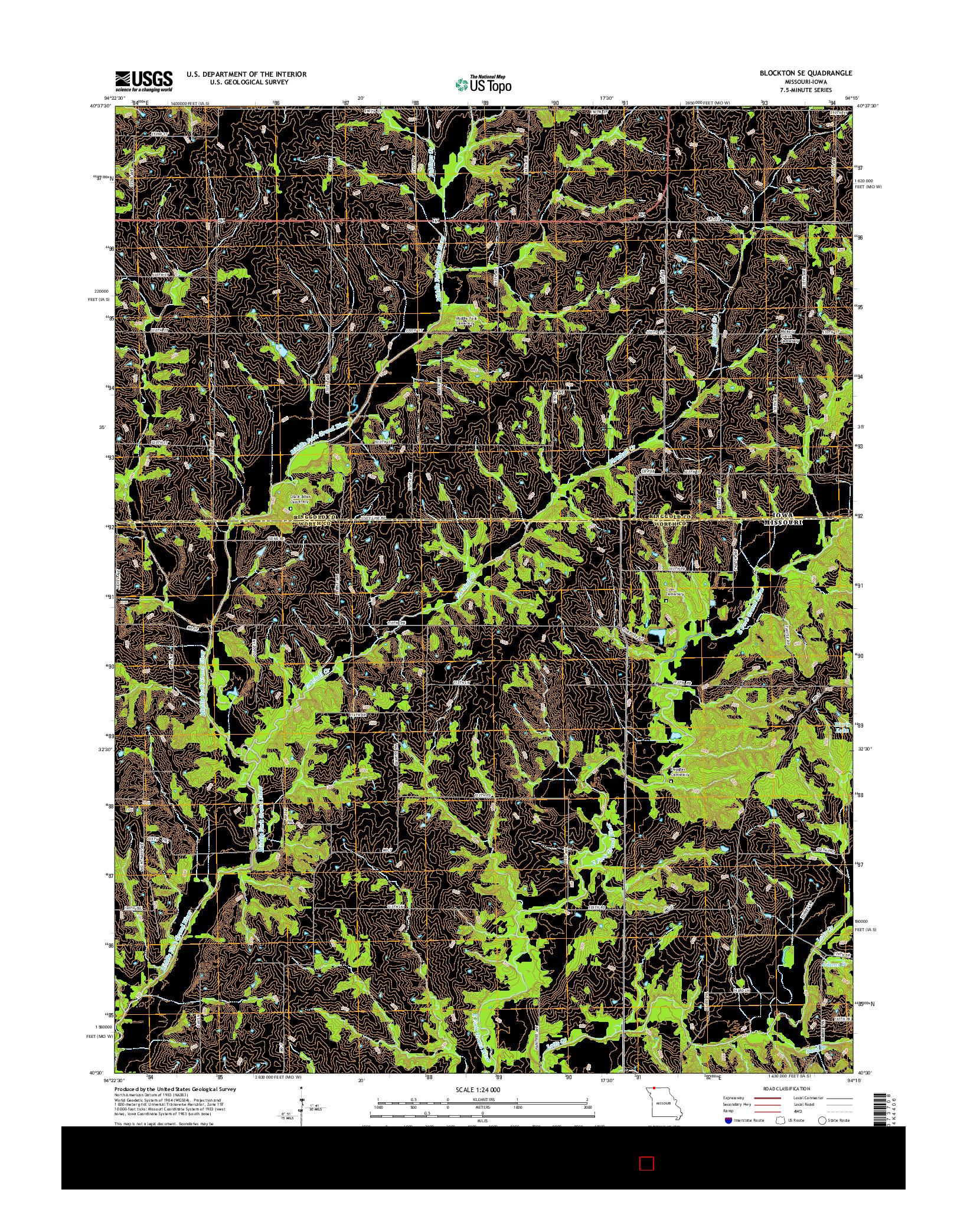 USGS US TOPO 7.5-MINUTE MAP FOR BLOCKTON SE, MO-IA 2014
