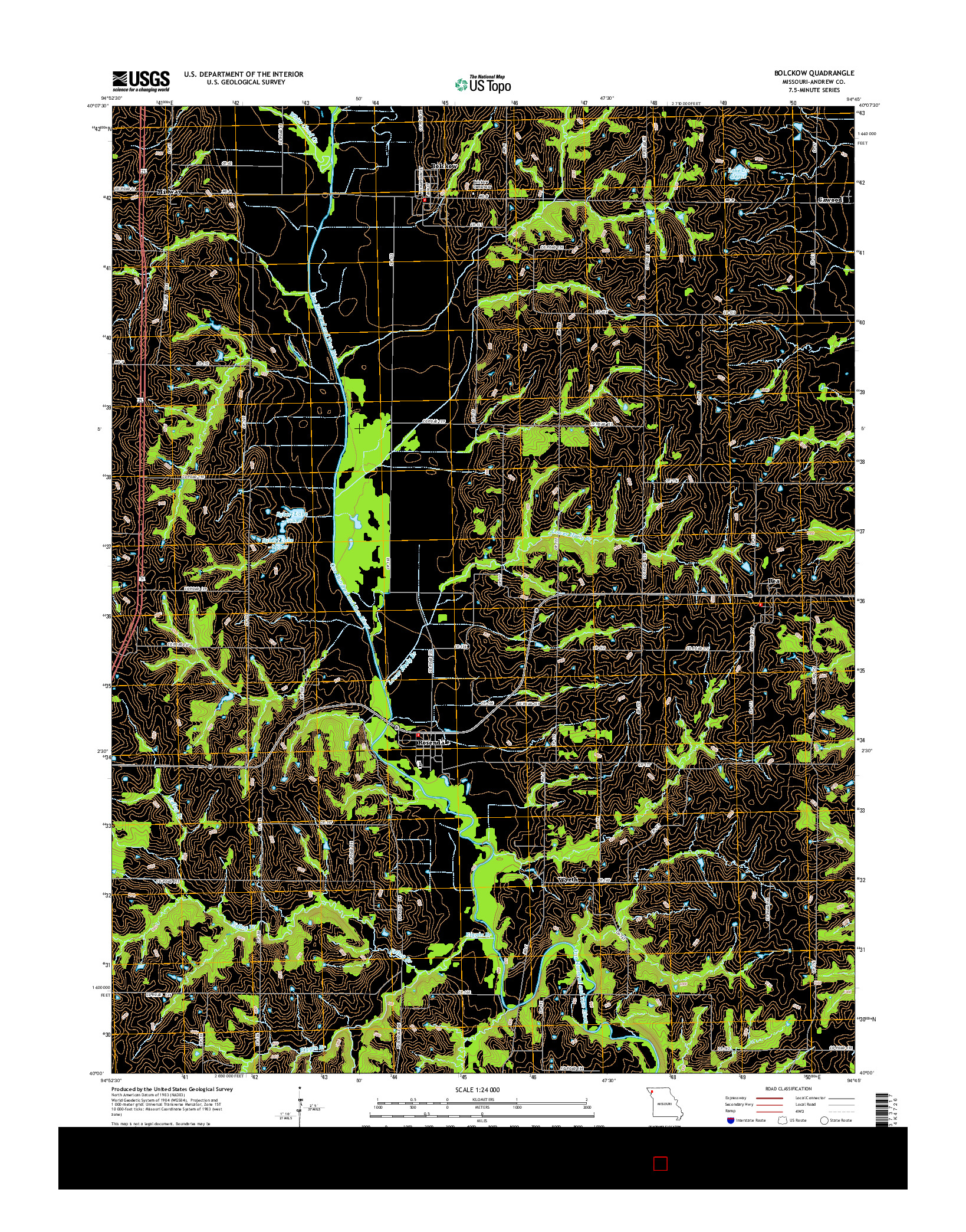 USGS US TOPO 7.5-MINUTE MAP FOR BOLCKOW, MO 2014
