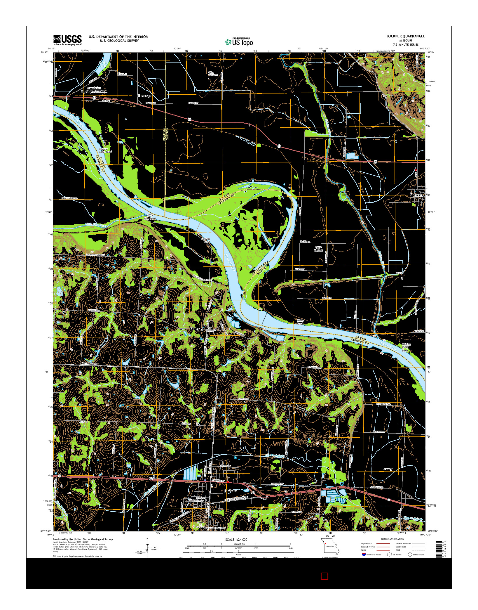 USGS US TOPO 7.5-MINUTE MAP FOR BUCKNER, MO 2014
