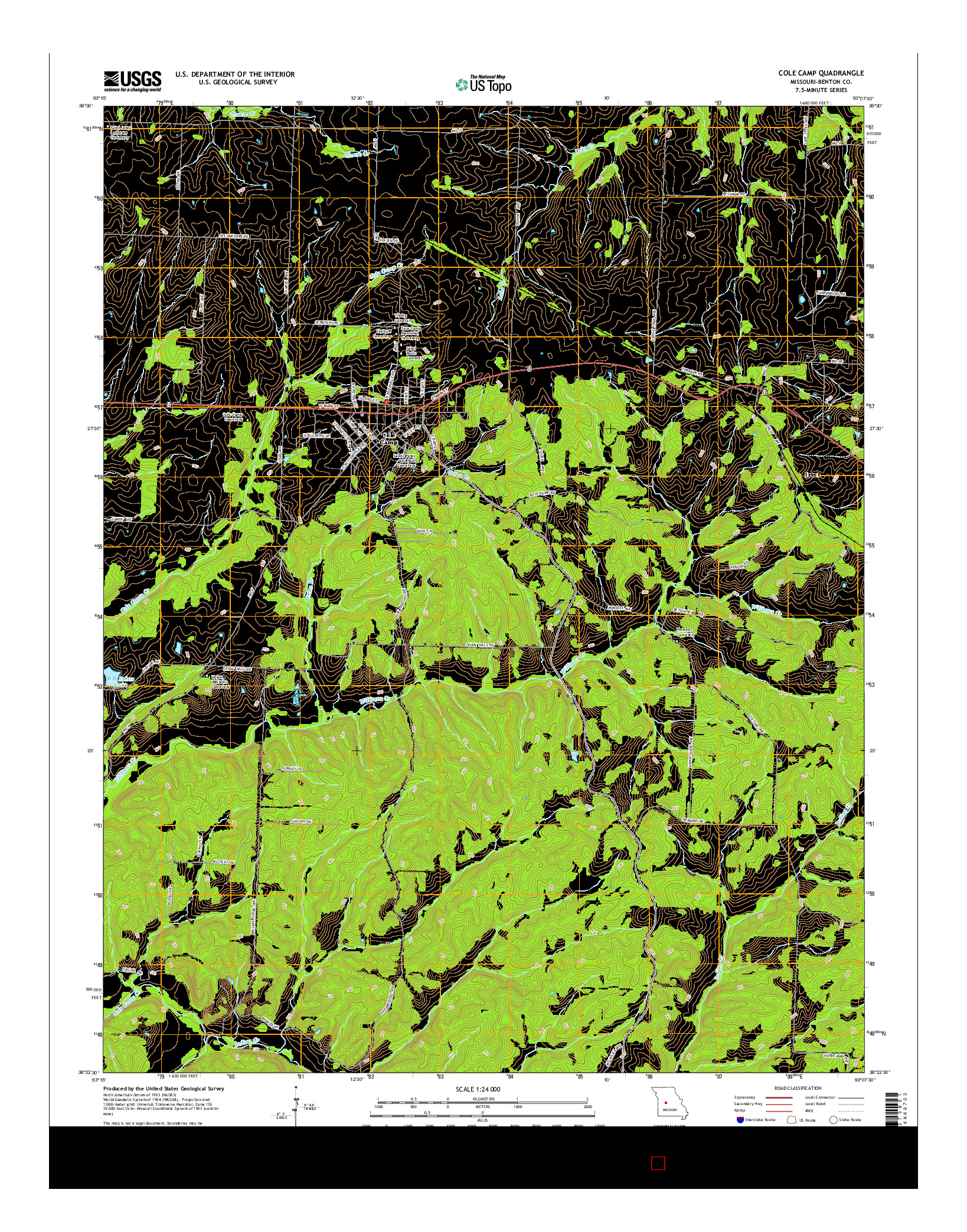 USGS US TOPO 7.5-MINUTE MAP FOR COLE CAMP, MO 2014