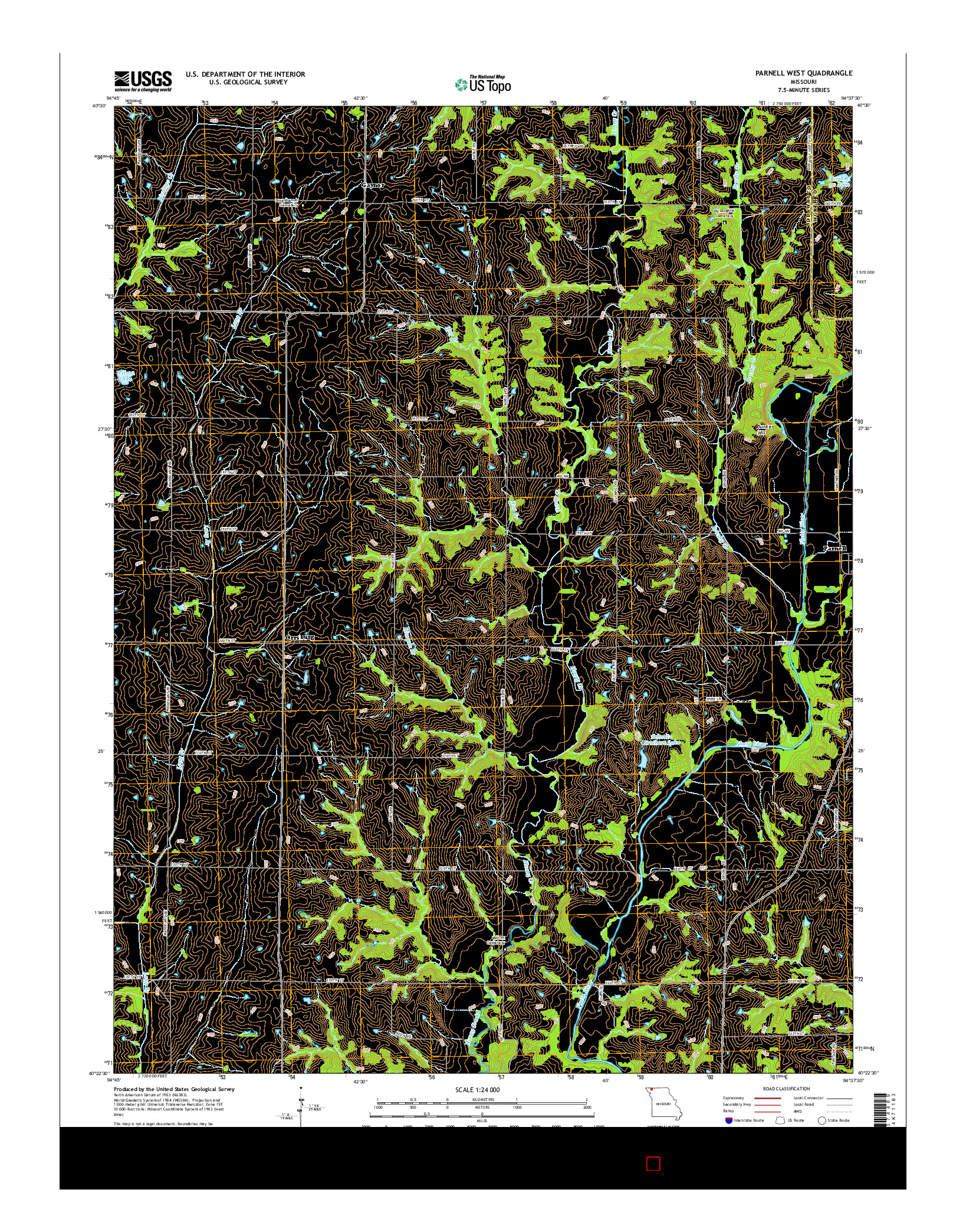 USGS US TOPO 7.5-MINUTE MAP FOR PARNELL WEST, MO 2014