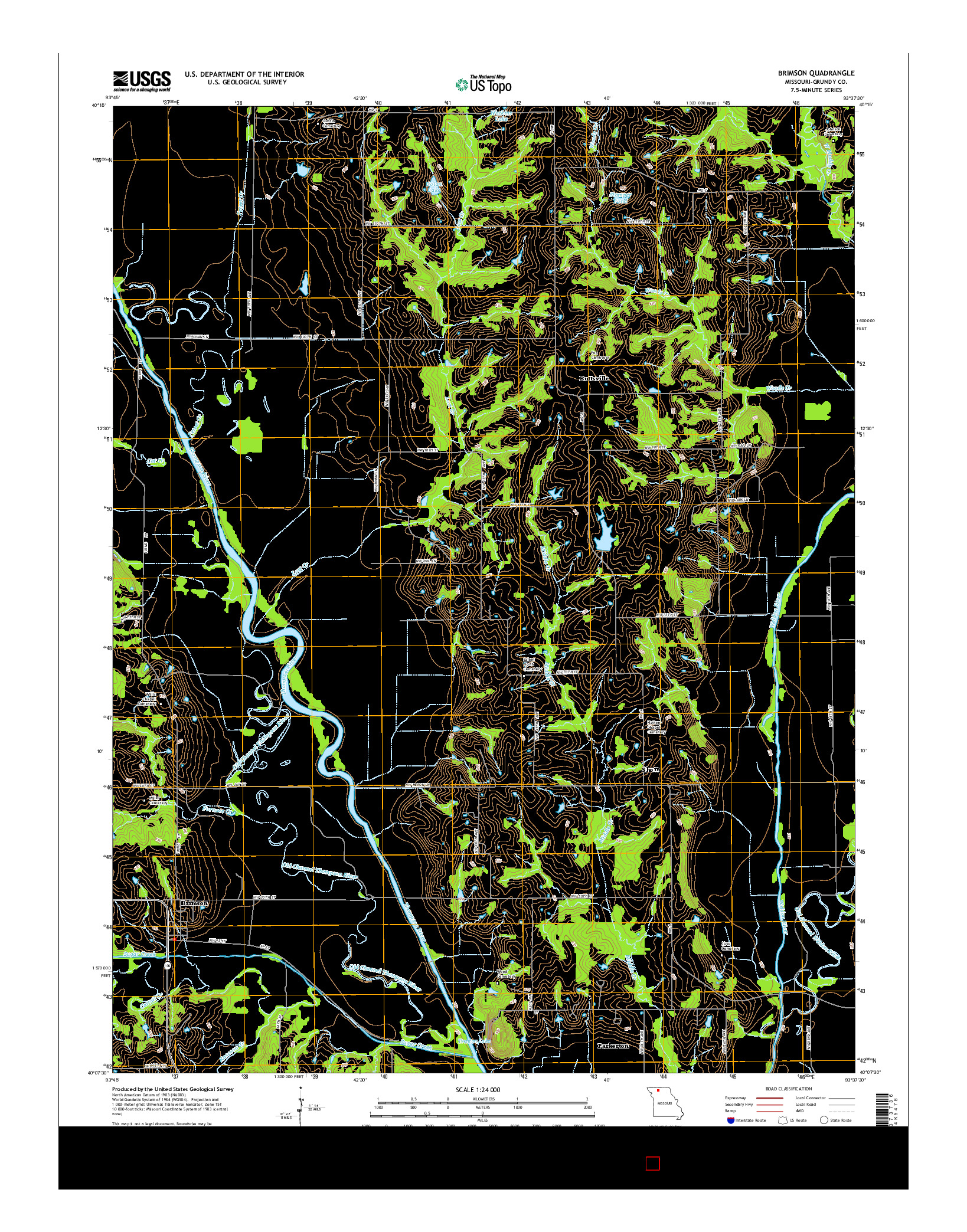 USGS US TOPO 7.5-MINUTE MAP FOR BRIMSON, MO 2014