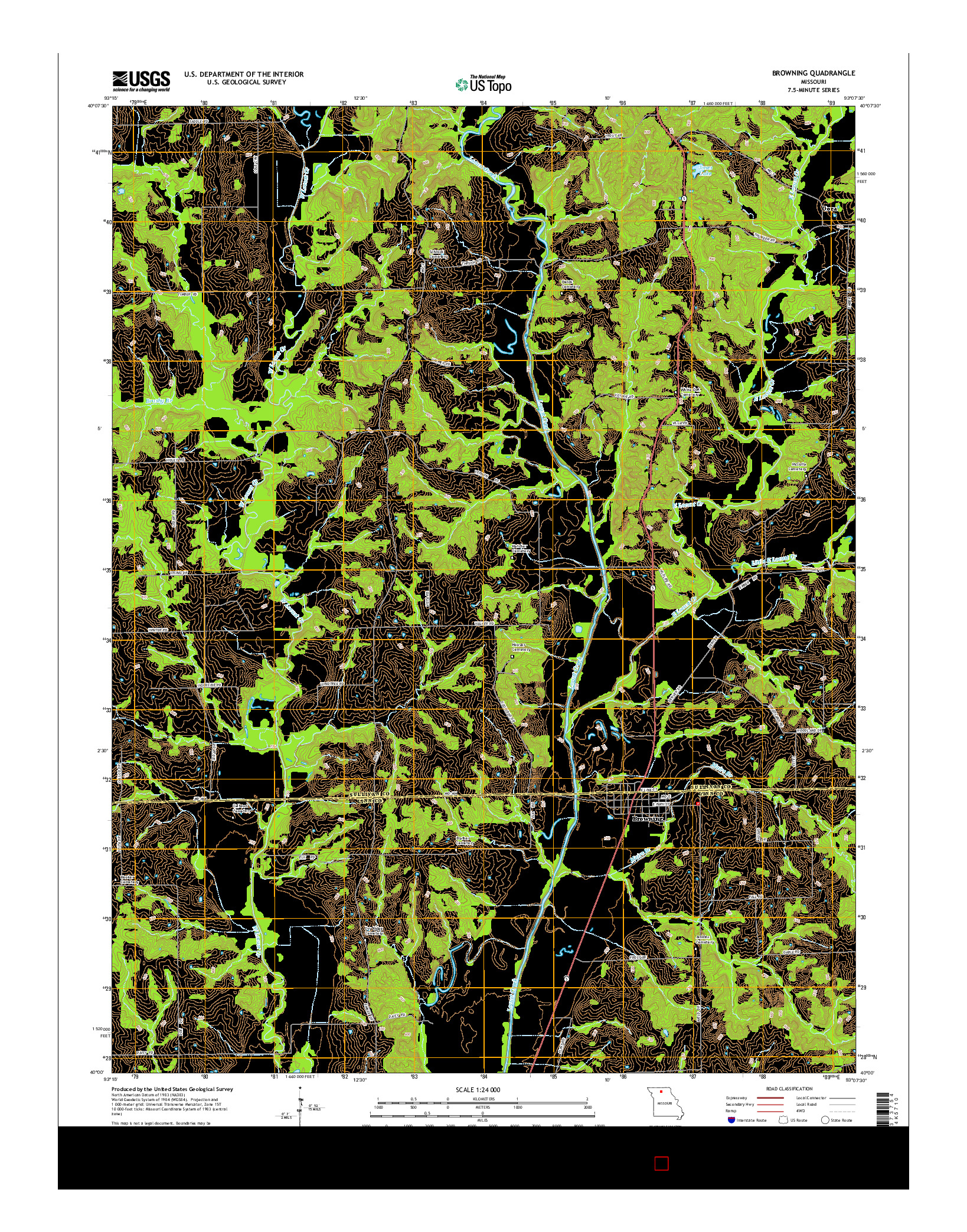 USGS US TOPO 7.5-MINUTE MAP FOR BROWNING, MO 2014