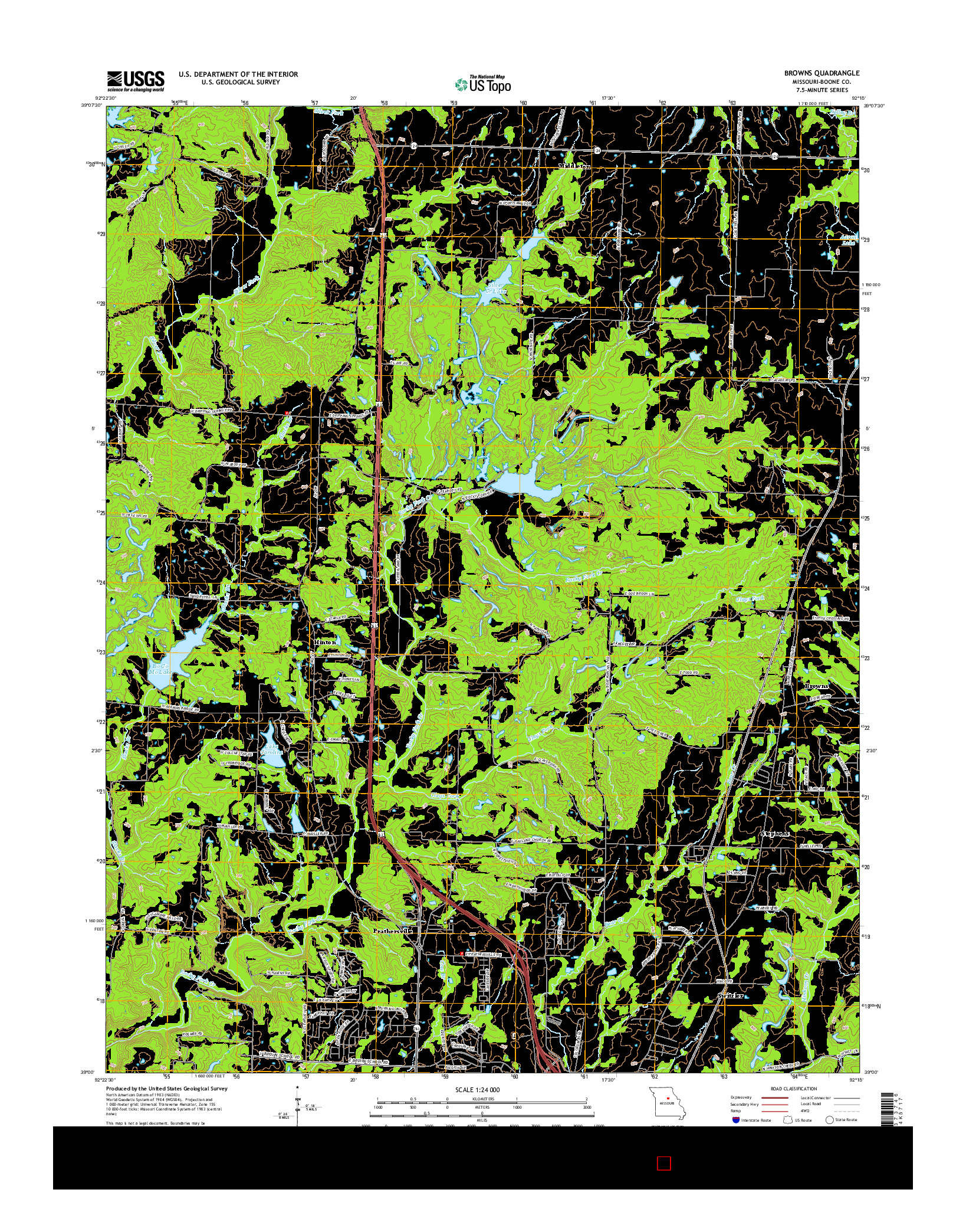 USGS US TOPO 7.5-MINUTE MAP FOR BROWNS, MO 2014