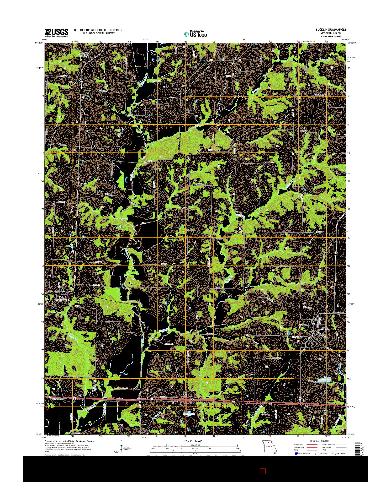 USGS US TOPO 7.5-MINUTE MAP FOR BUCKLIN, MO 2014