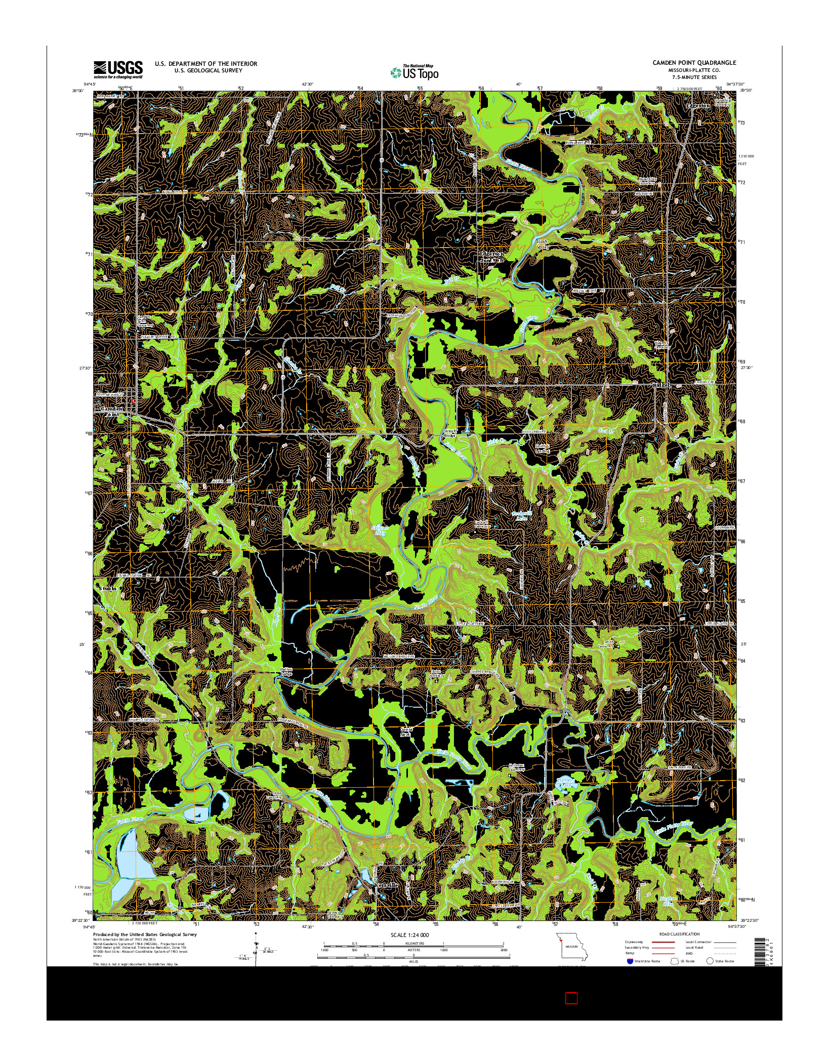 USGS US TOPO 7.5-MINUTE MAP FOR CAMDEN POINT, MO 2014