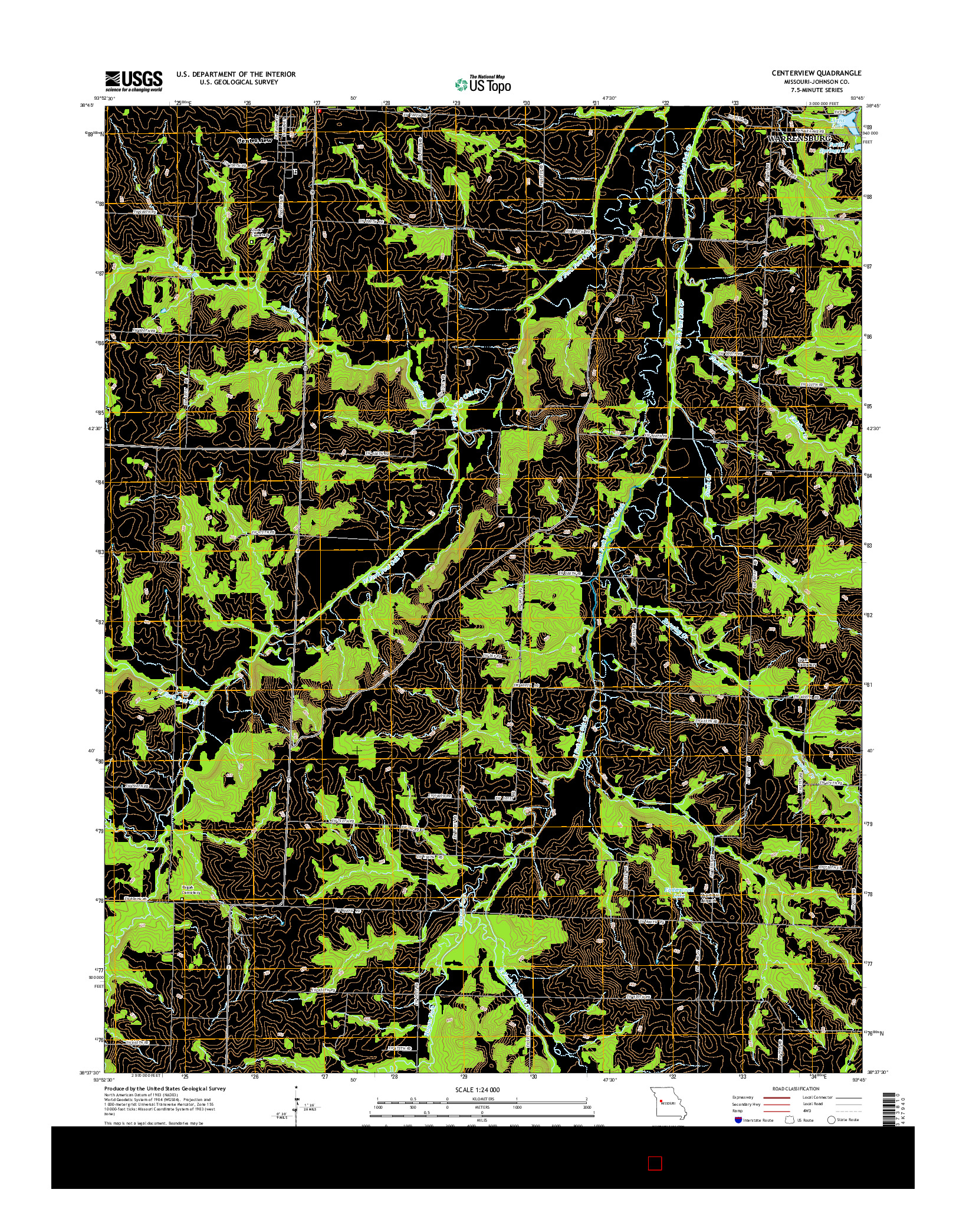USGS US TOPO 7.5-MINUTE MAP FOR CENTERVIEW, MO 2014