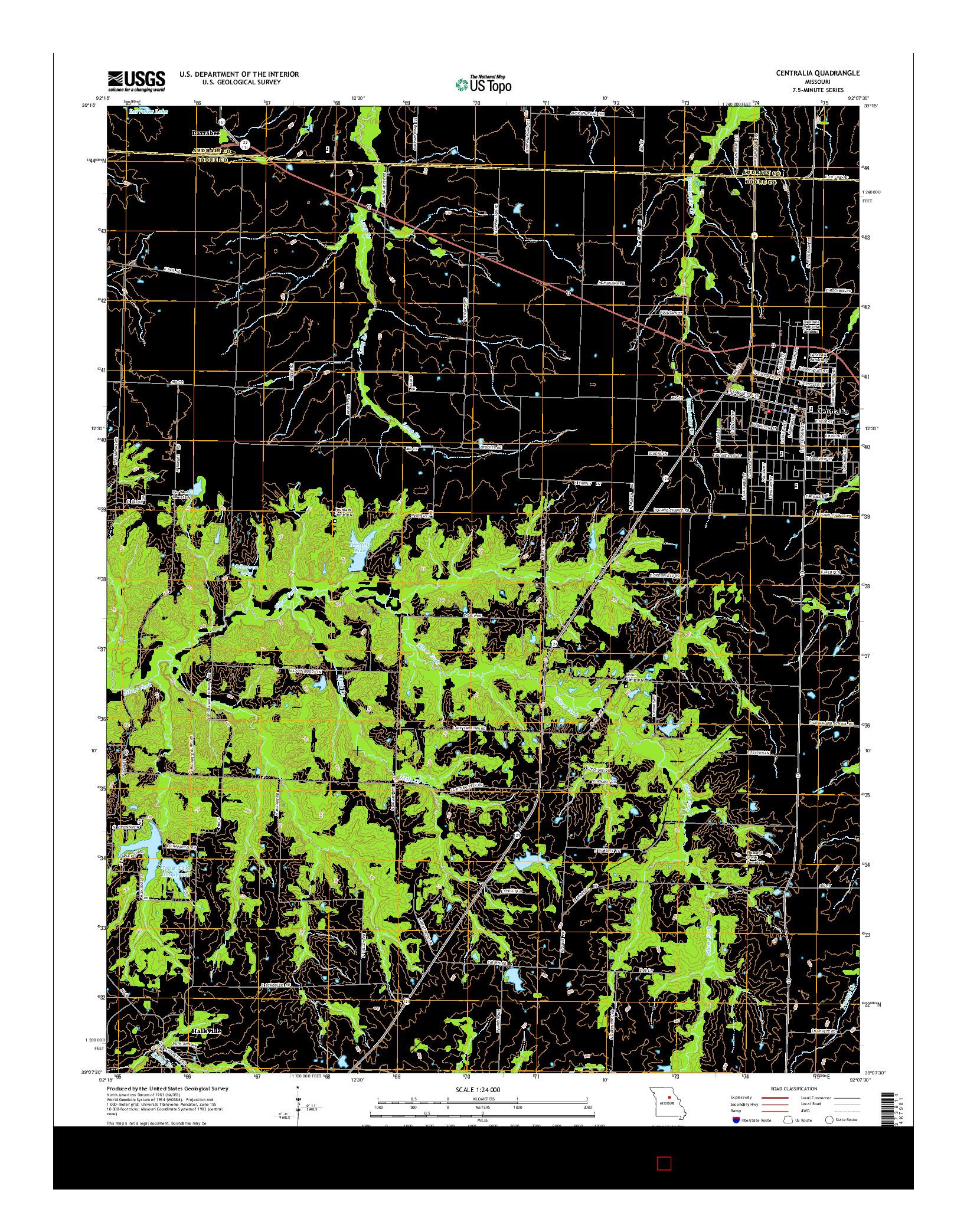 USGS US TOPO 7.5-MINUTE MAP FOR CENTRALIA, MO 2014