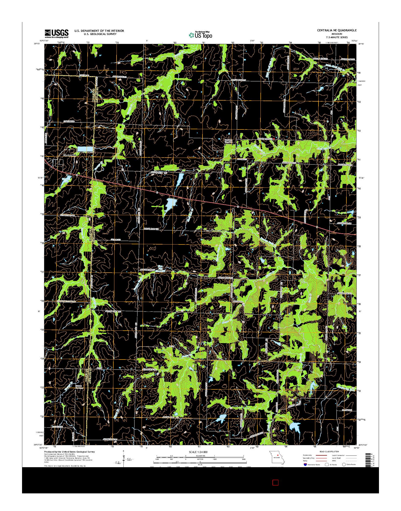 USGS US TOPO 7.5-MINUTE MAP FOR CENTRALIA NE, MO 2014