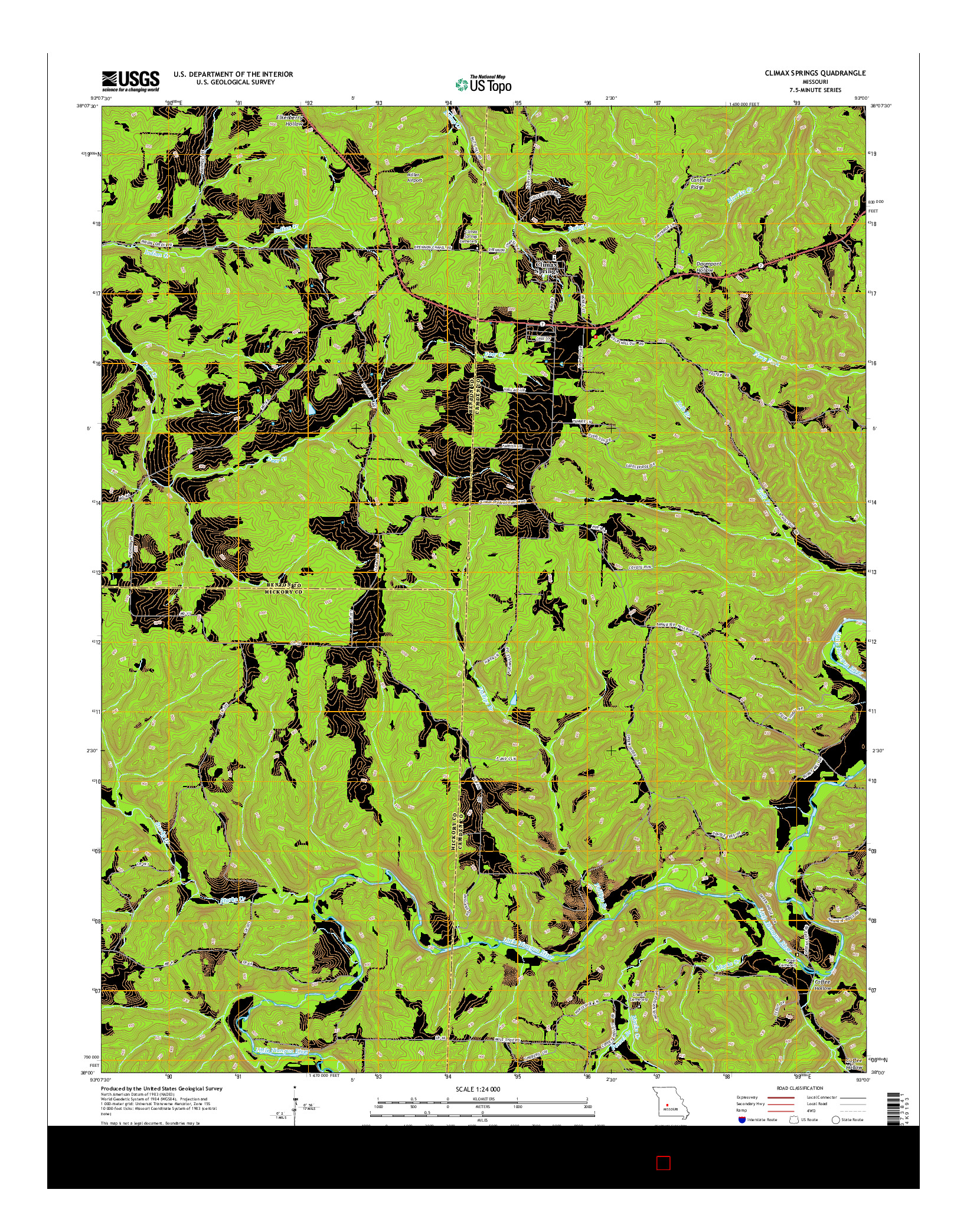USGS US TOPO 7.5-MINUTE MAP FOR CLIMAX SPRINGS, MO 2014