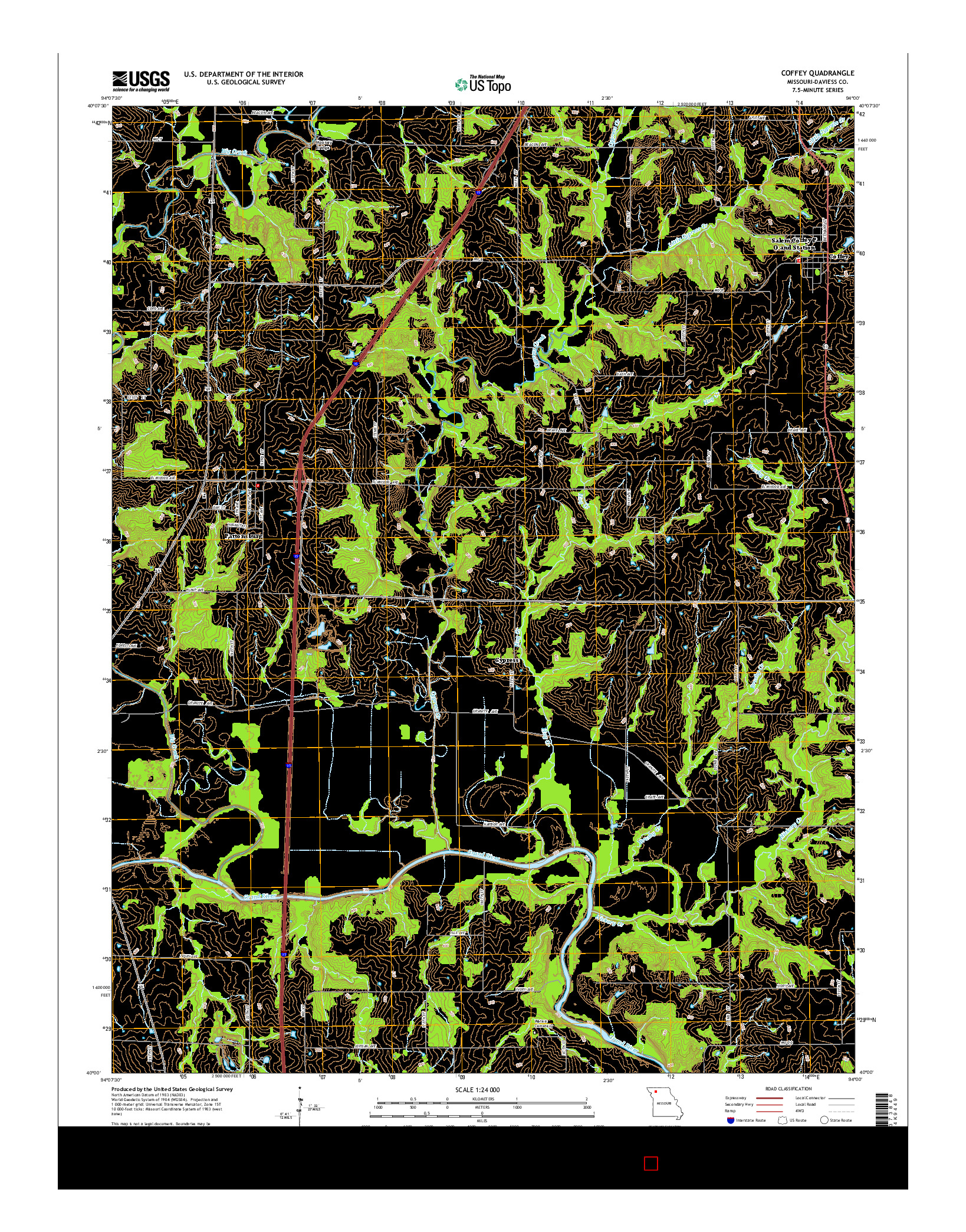 USGS US TOPO 7.5-MINUTE MAP FOR COFFEY, MO 2014