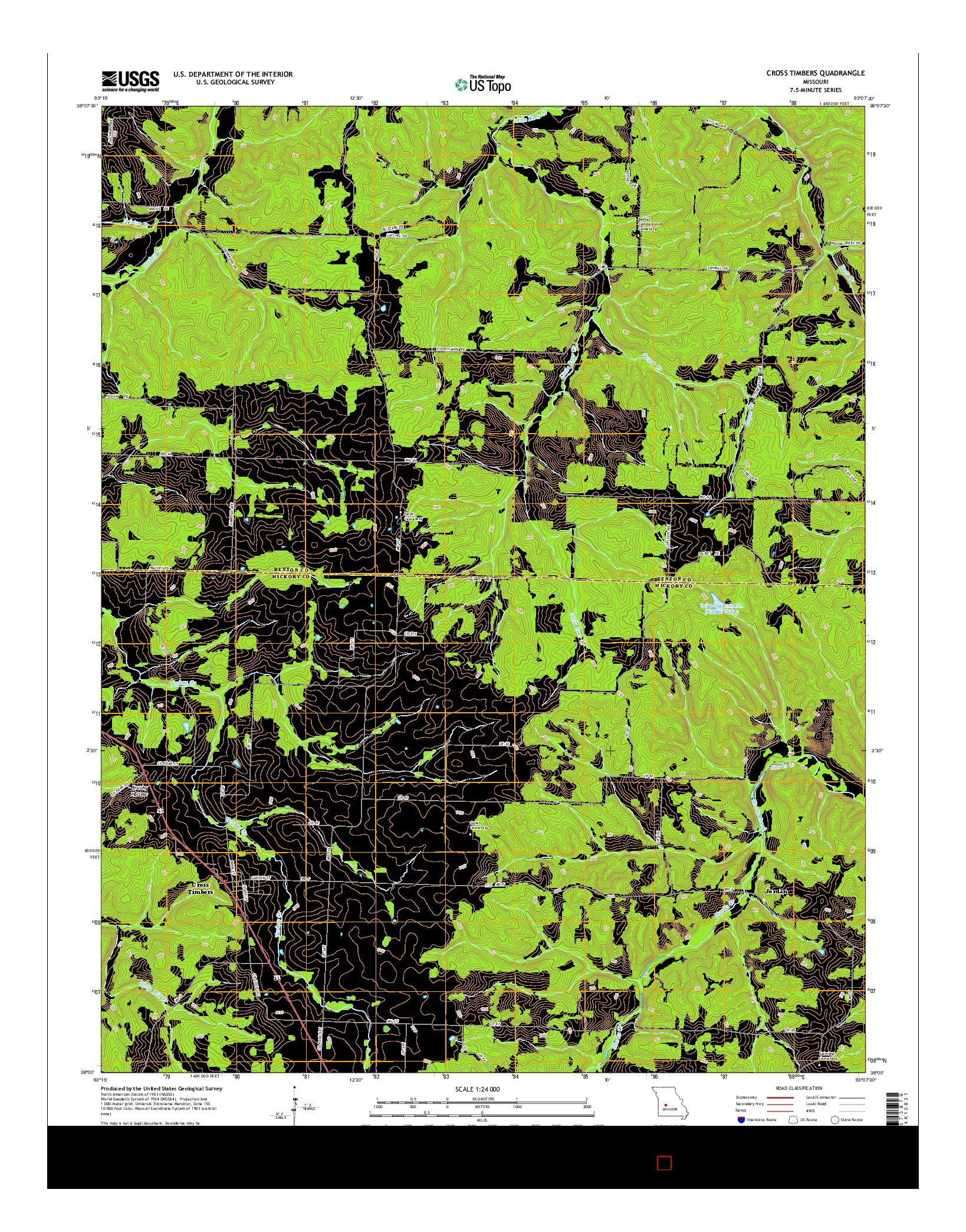 USGS US TOPO 7.5-MINUTE MAP FOR CROSS TIMBERS, MO 2014