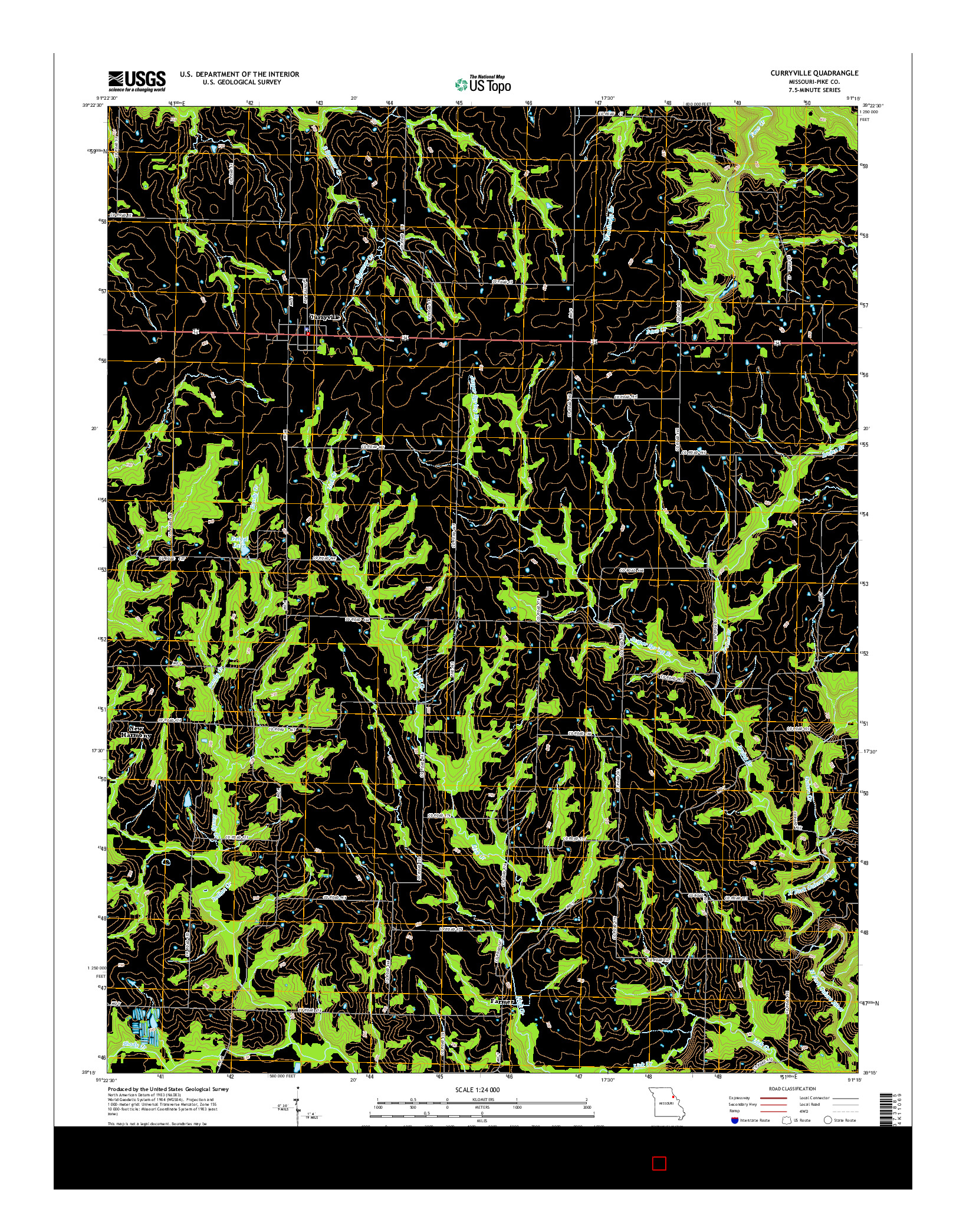 USGS US TOPO 7.5-MINUTE MAP FOR CURRYVILLE, MO 2014