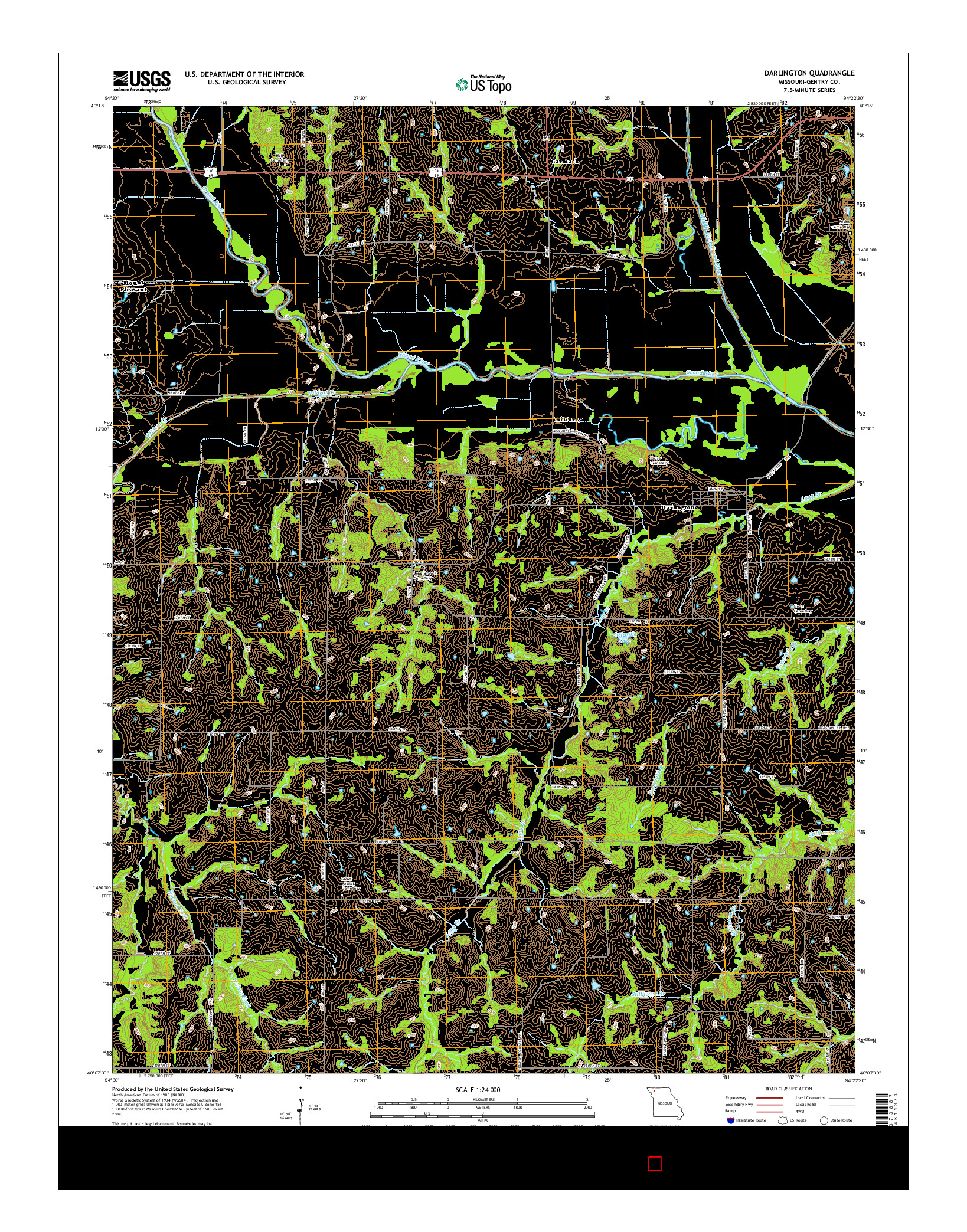 USGS US TOPO 7.5-MINUTE MAP FOR DARLINGTON, MO 2014