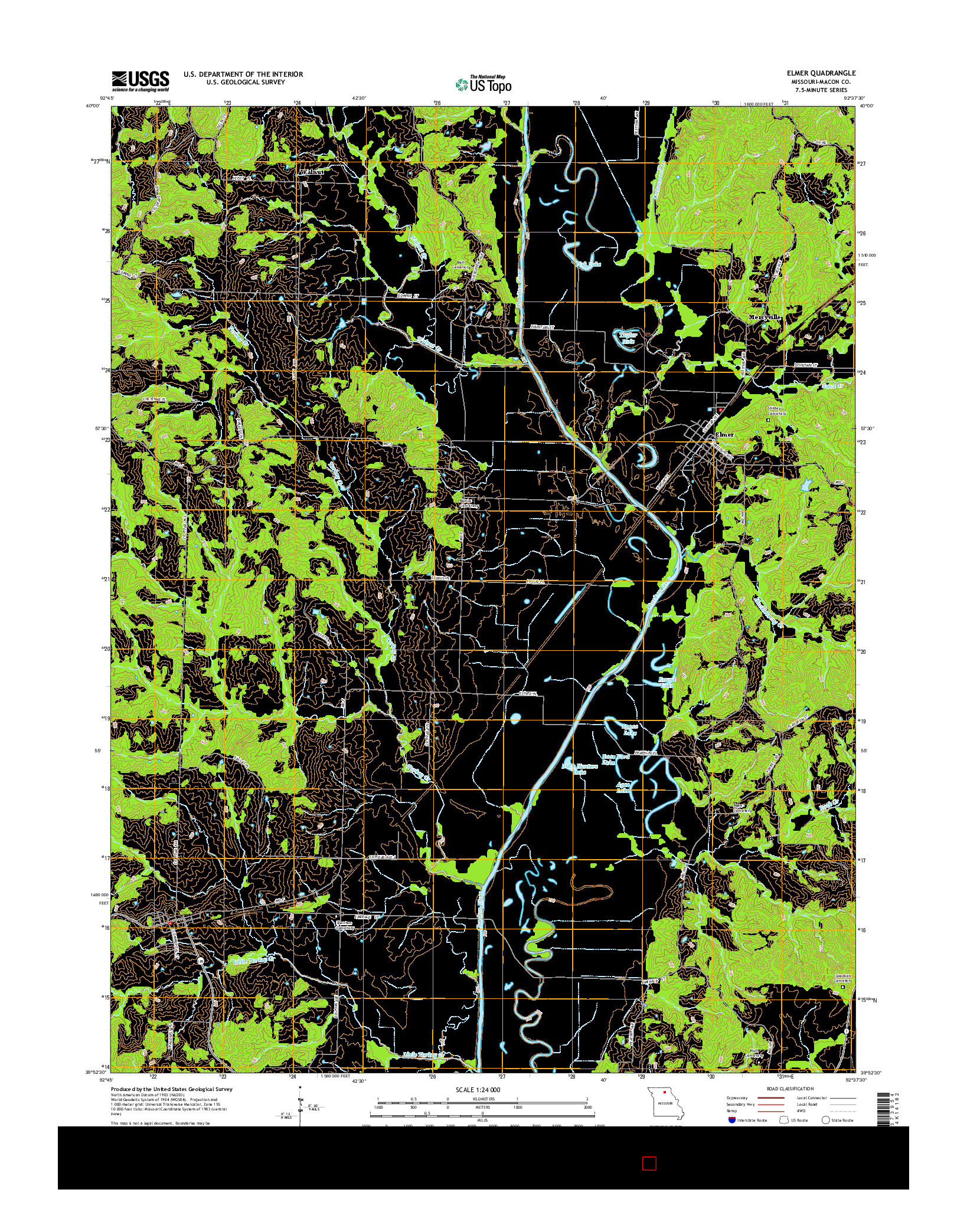 USGS US TOPO 7.5-MINUTE MAP FOR ELMER, MO 2014