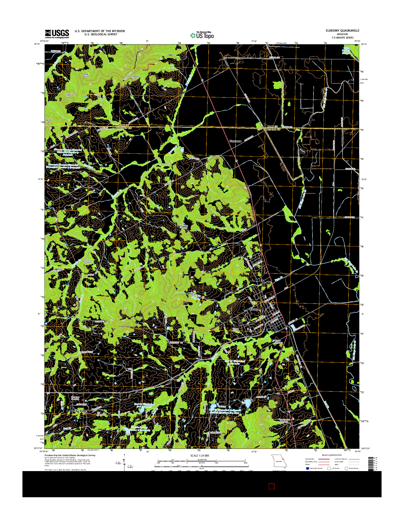 USGS US TOPO 7.5-MINUTE MAP FOR ELSBERRY, MO 2014