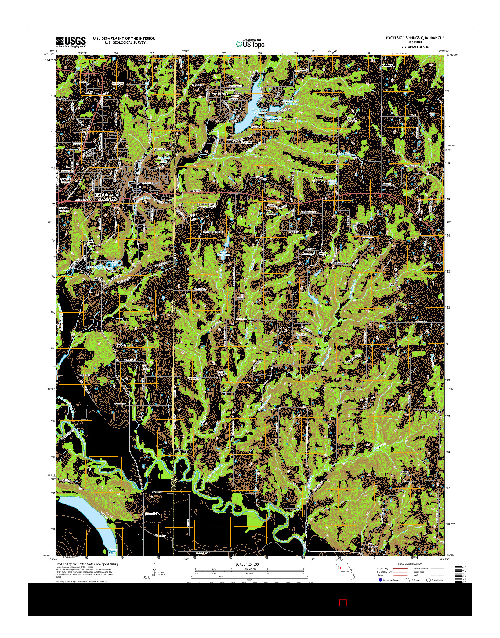 USGS US TOPO 7.5-MINUTE MAP FOR EXCELSIOR SPRINGS, MO 2014