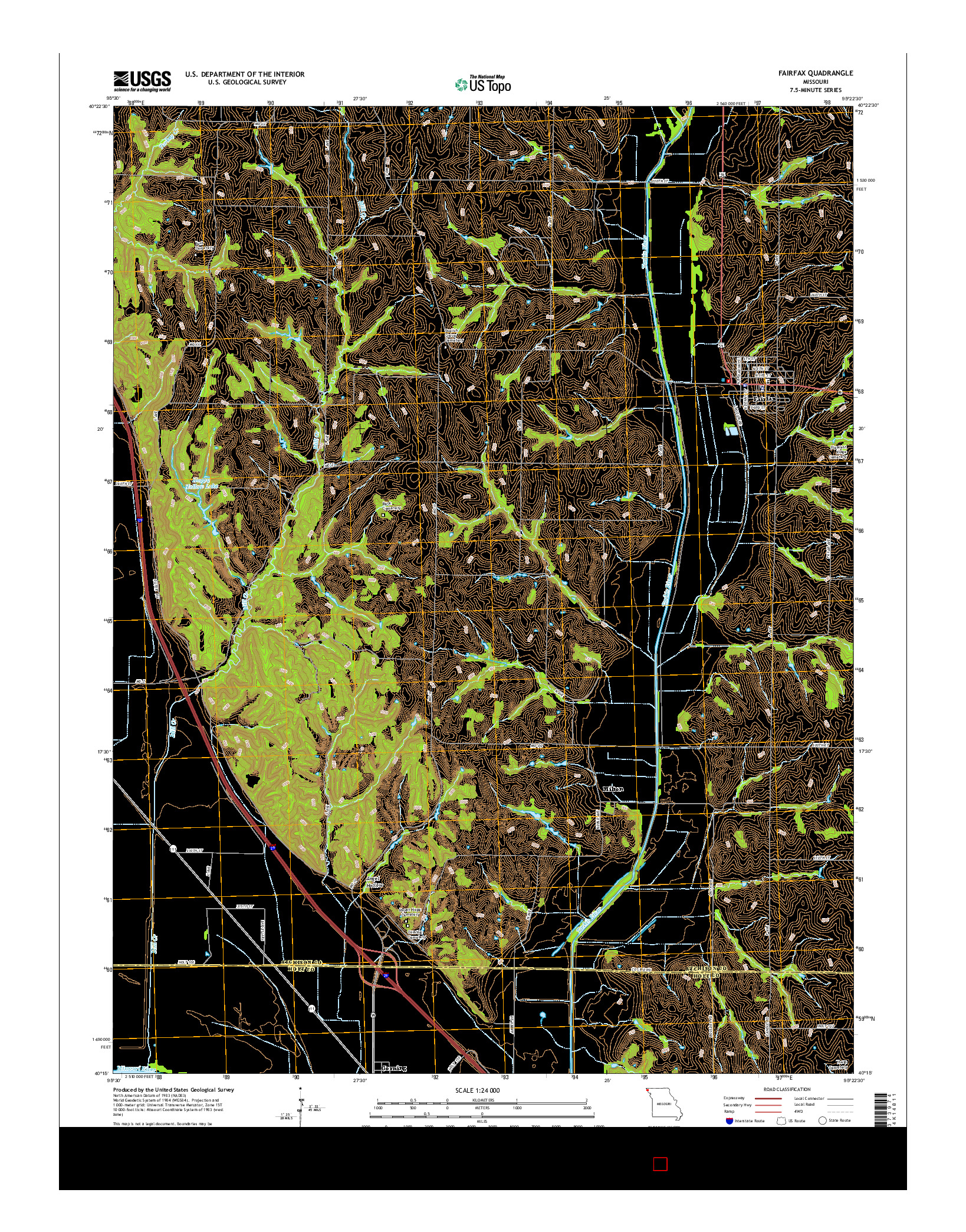 USGS US TOPO 7.5-MINUTE MAP FOR FAIRFAX, MO 2014