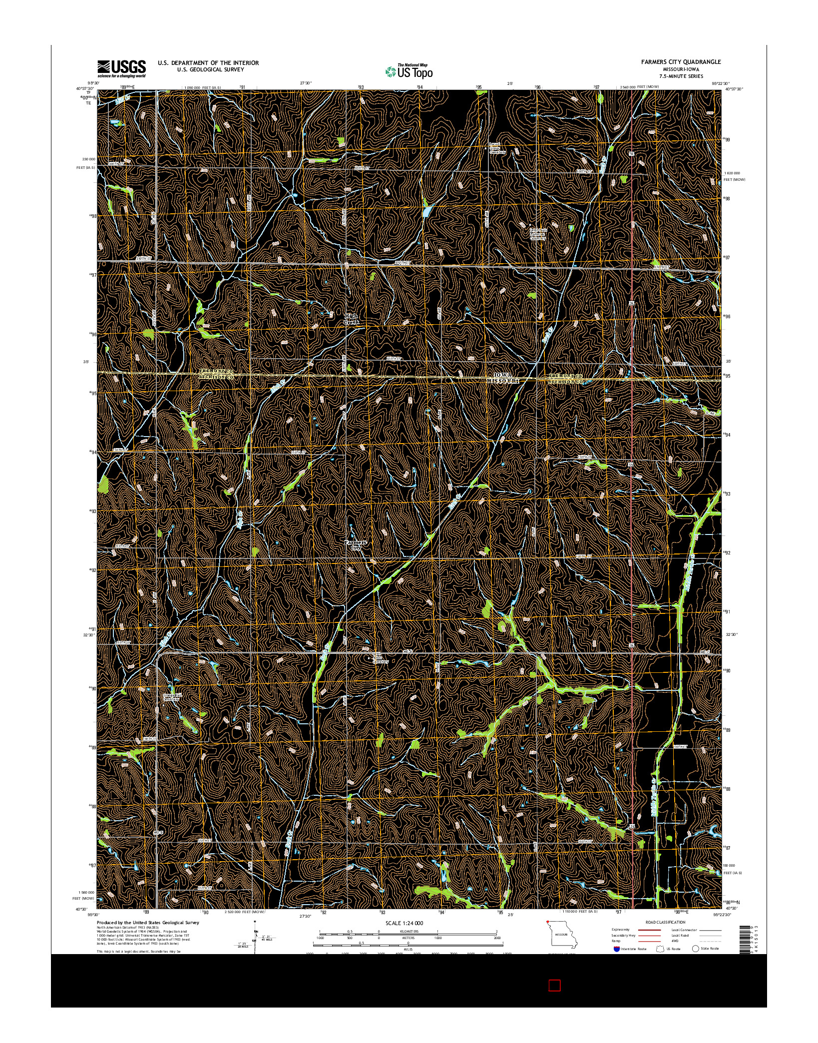 USGS US TOPO 7.5-MINUTE MAP FOR FARMERS CITY, MO-IA 2014