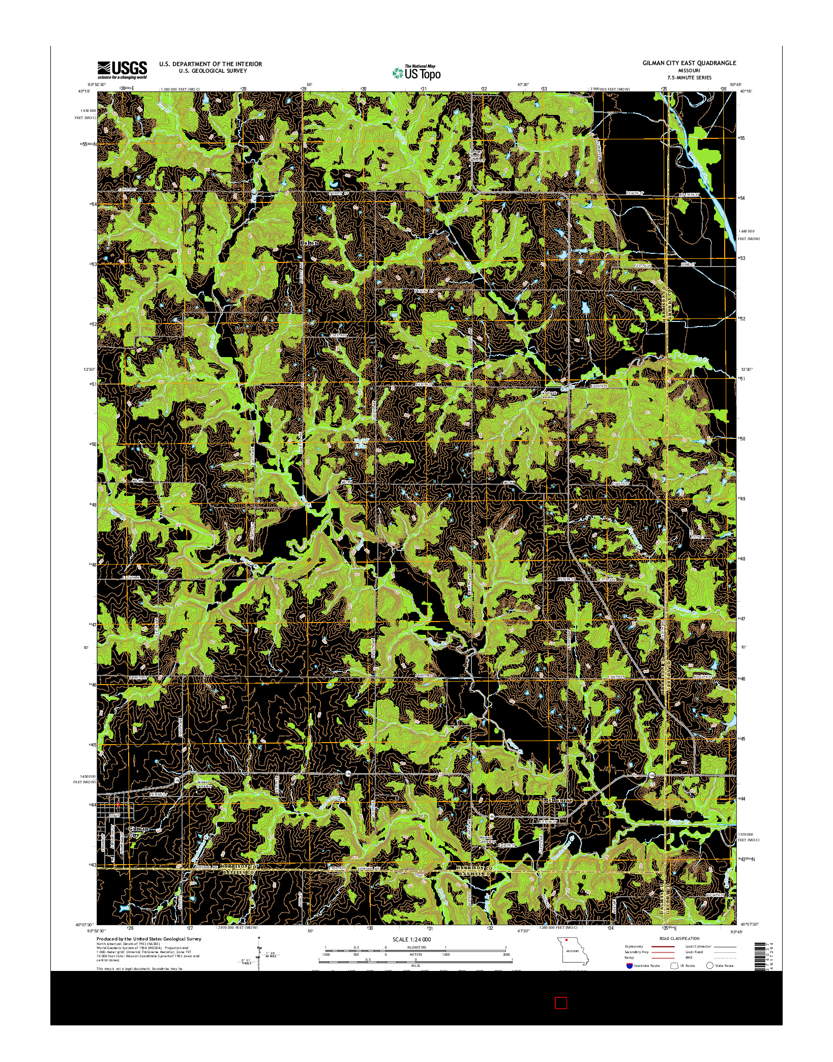 USGS US TOPO 7.5-MINUTE MAP FOR GILMAN CITY EAST, MO 2014