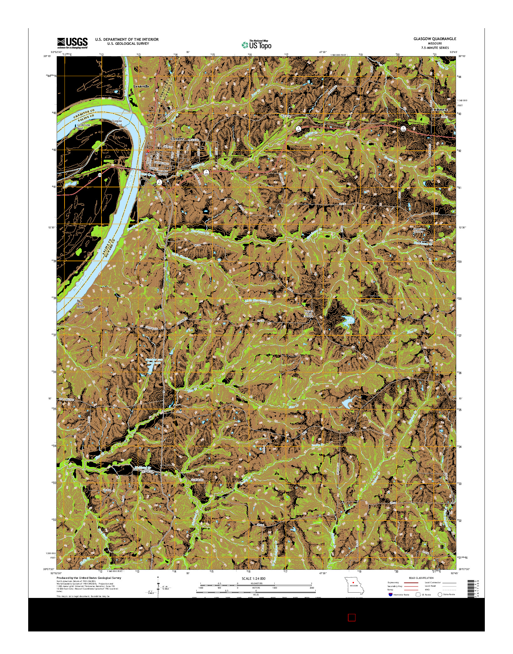 USGS US TOPO 7.5-MINUTE MAP FOR GLASGOW, MO 2014