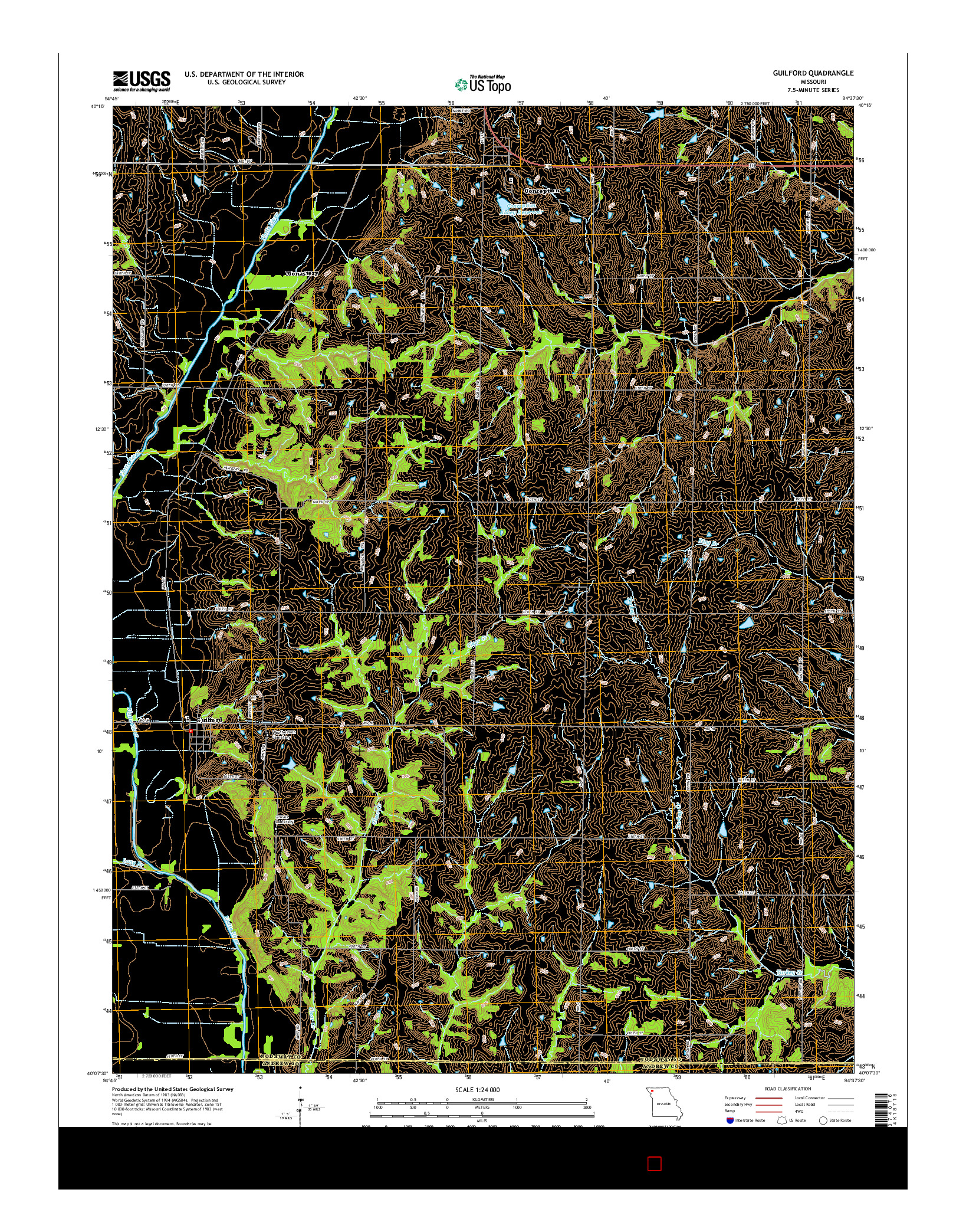 USGS US TOPO 7.5-MINUTE MAP FOR GUILFORD, MO 2014