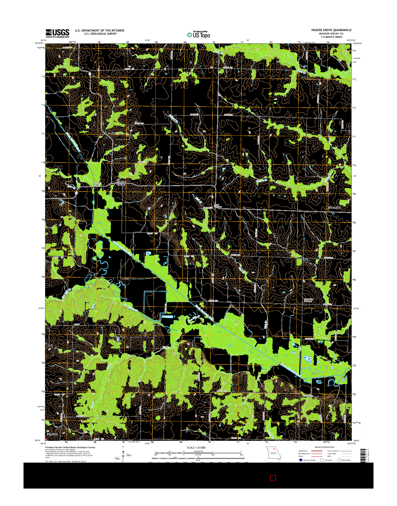 USGS US TOPO 7.5-MINUTE MAP FOR HAGERS GROVE, MO 2014