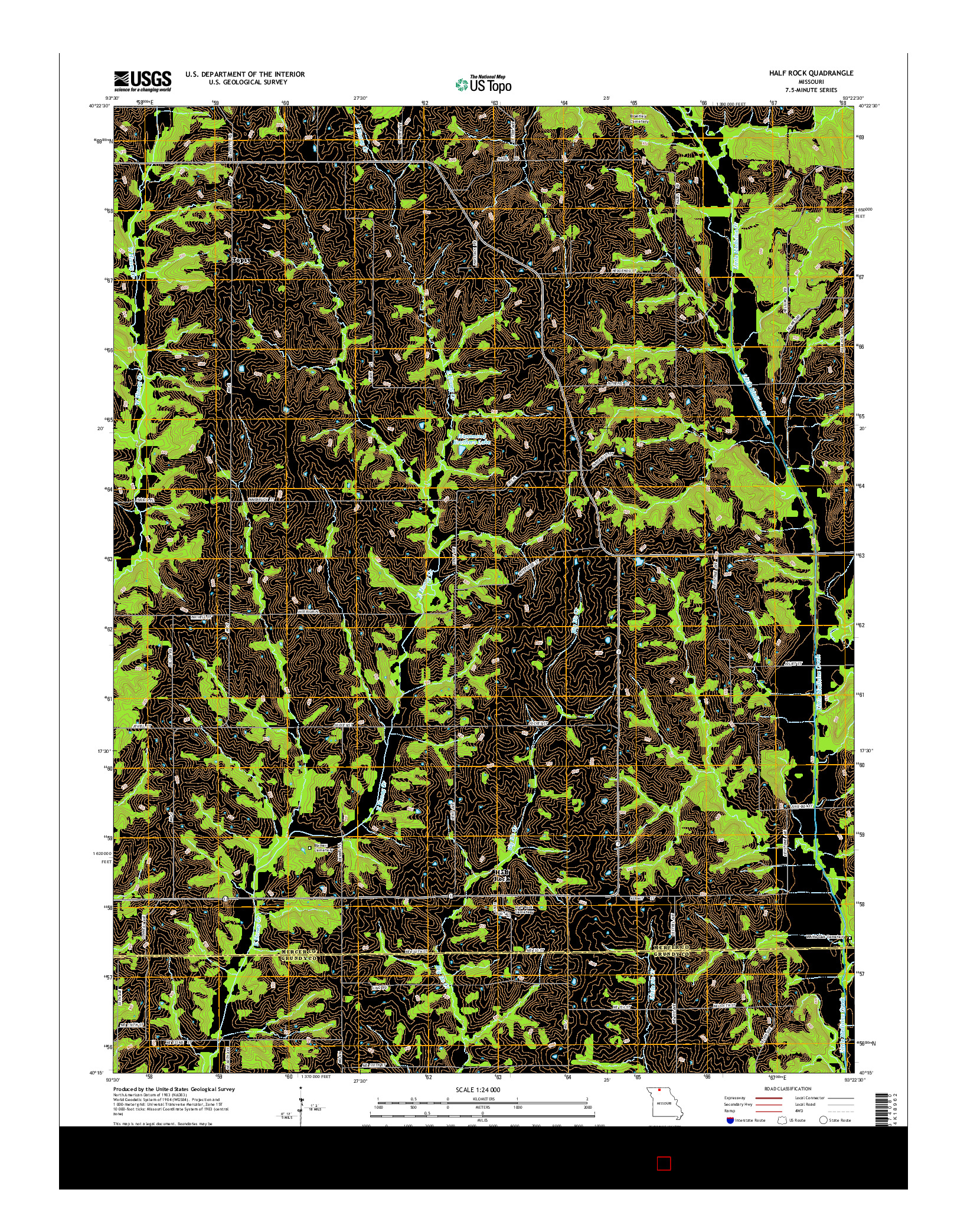 USGS US TOPO 7.5-MINUTE MAP FOR HALF ROCK, MO 2014
