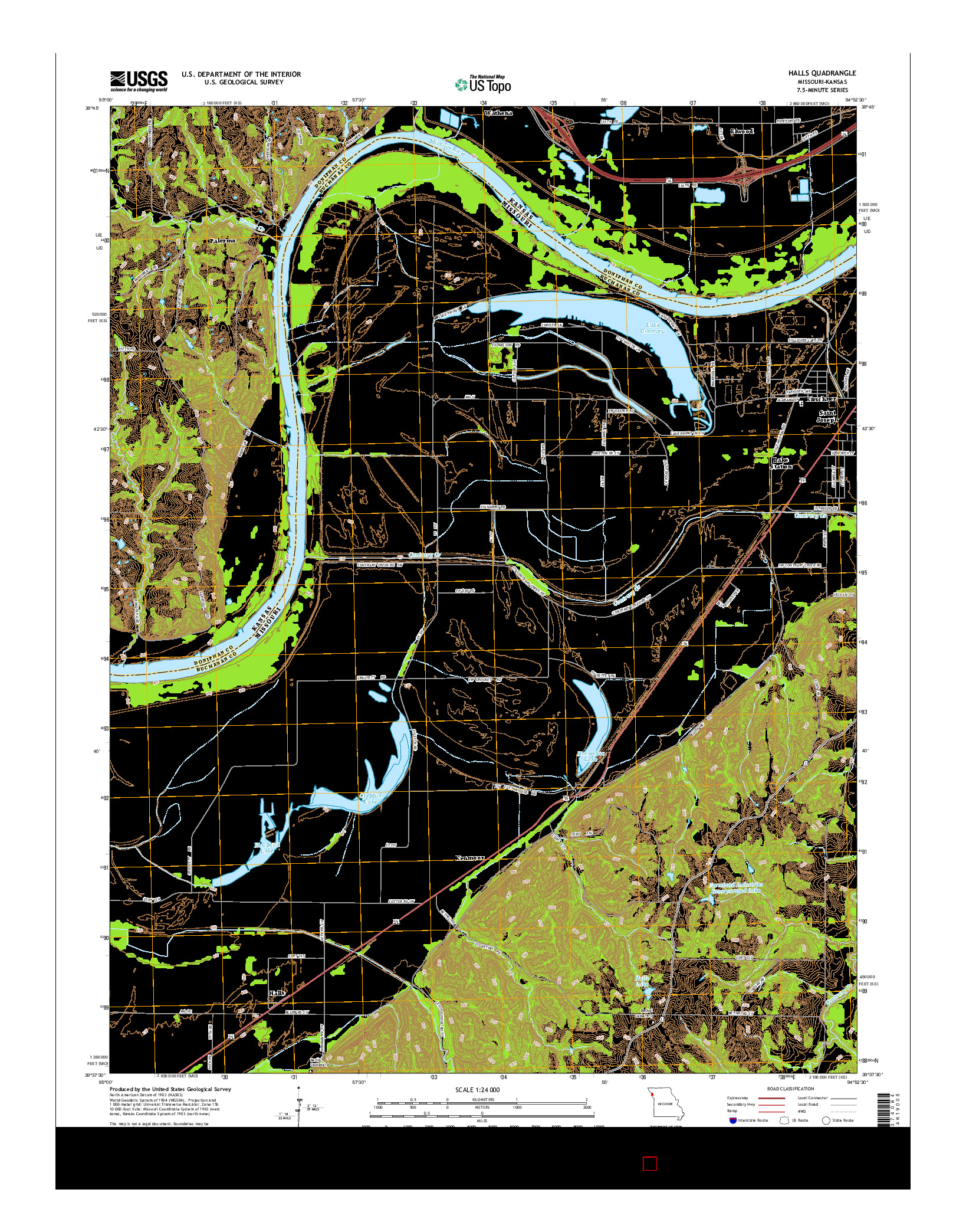 USGS US TOPO 7.5-MINUTE MAP FOR HALLS, MO-KS 2014