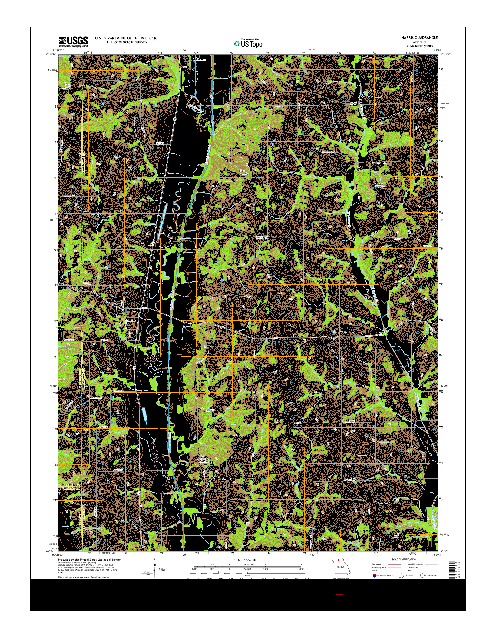 USGS US TOPO 7.5-MINUTE MAP FOR HARRIS, MO 2014