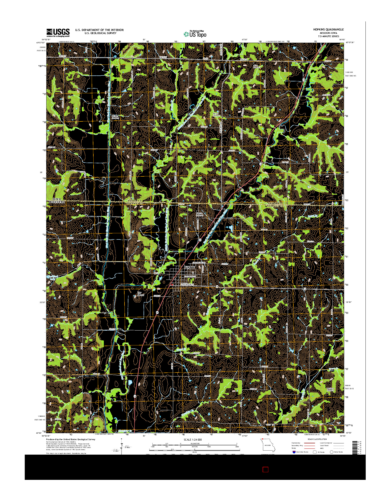 USGS US TOPO 7.5-MINUTE MAP FOR HOPKINS, MO-IA 2014