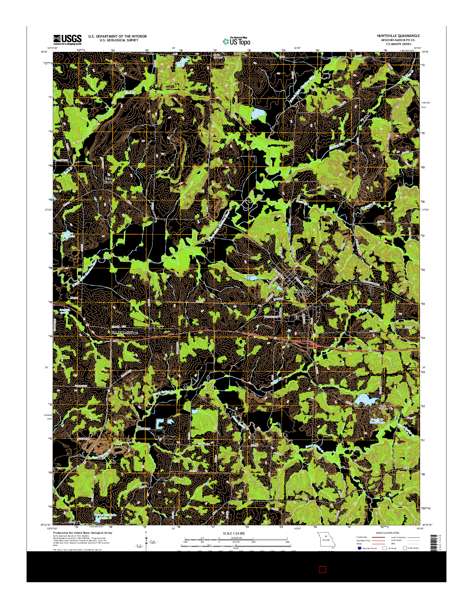 USGS US TOPO 7.5-MINUTE MAP FOR HUNTSVILLE, MO 2014