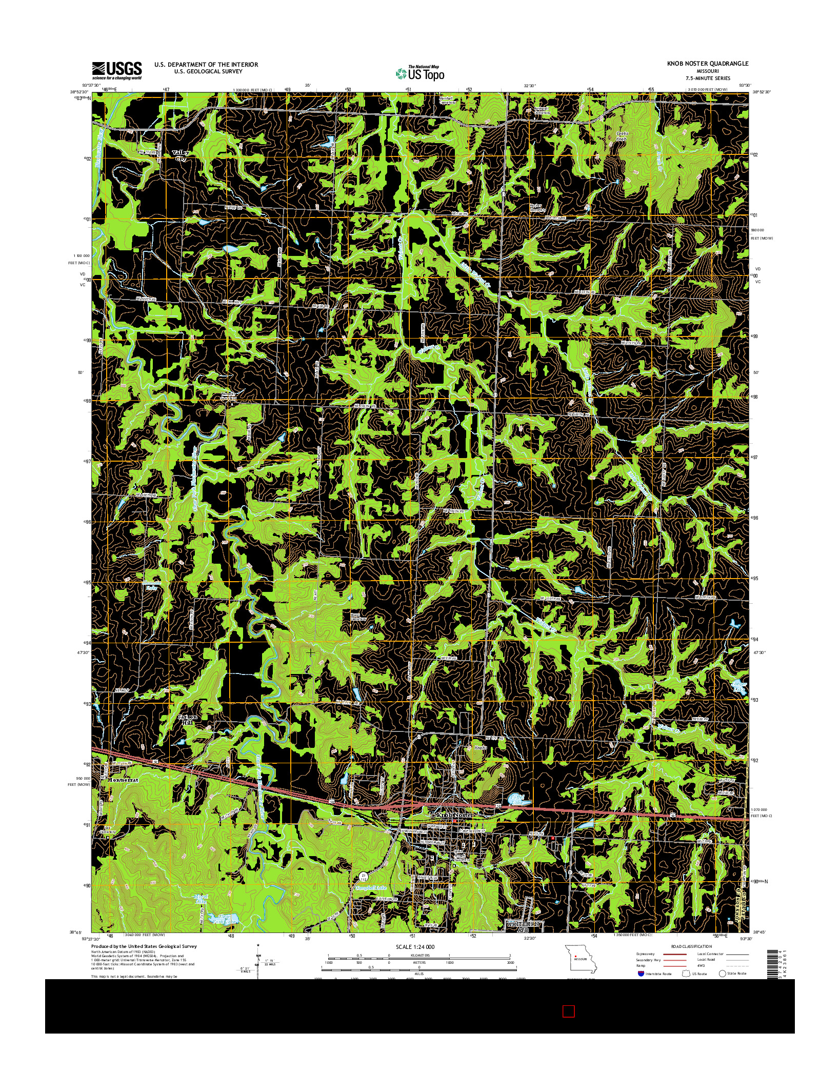 USGS US TOPO 7.5-MINUTE MAP FOR KNOB NOSTER, MO 2014