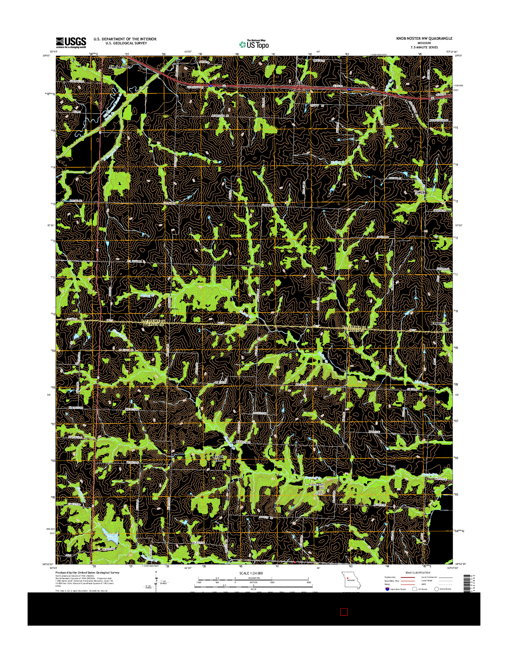 USGS US TOPO 7.5-MINUTE MAP FOR KNOB NOSTER NW, MO 2014