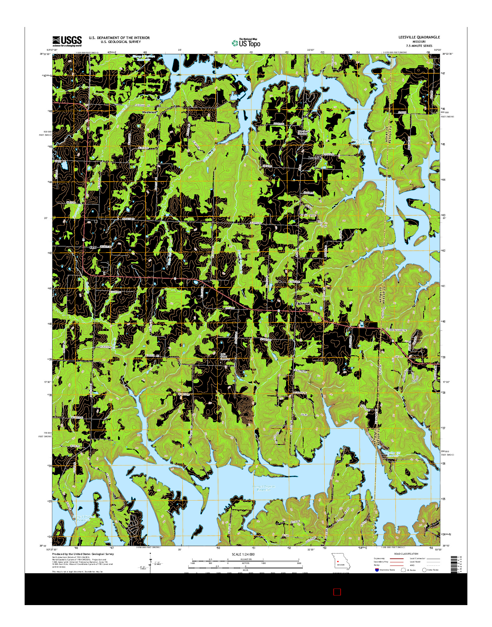 USGS US TOPO 7.5-MINUTE MAP FOR LEESVILLE, MO 2014