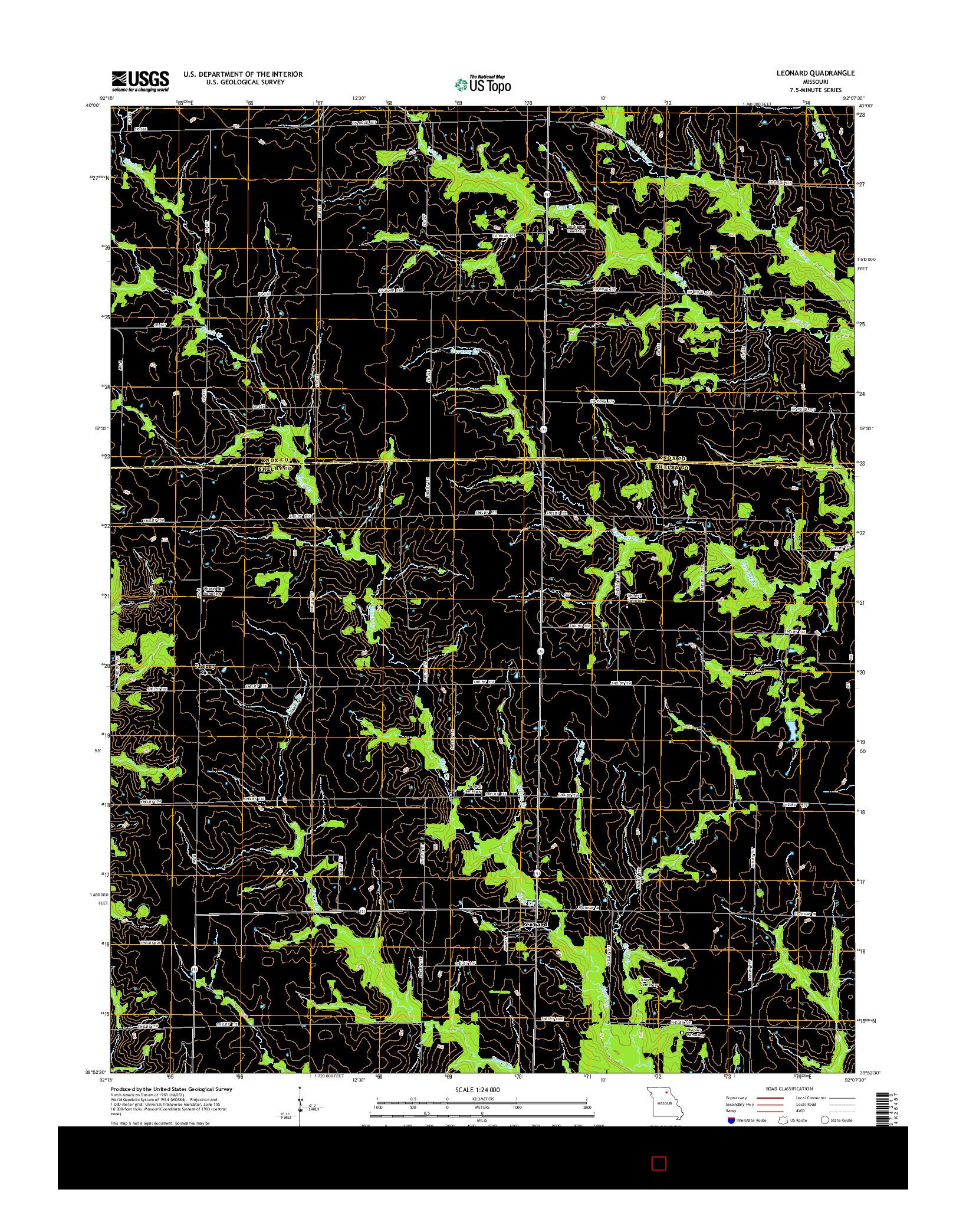 USGS US TOPO 7.5-MINUTE MAP FOR LEONARD, MO 2014