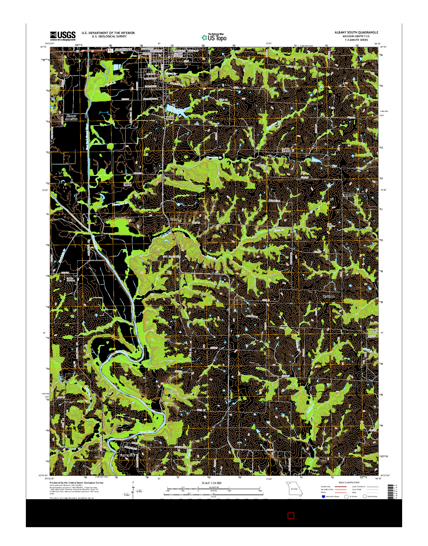 USGS US TOPO 7.5-MINUTE MAP FOR ALBANY SOUTH, MO 2014