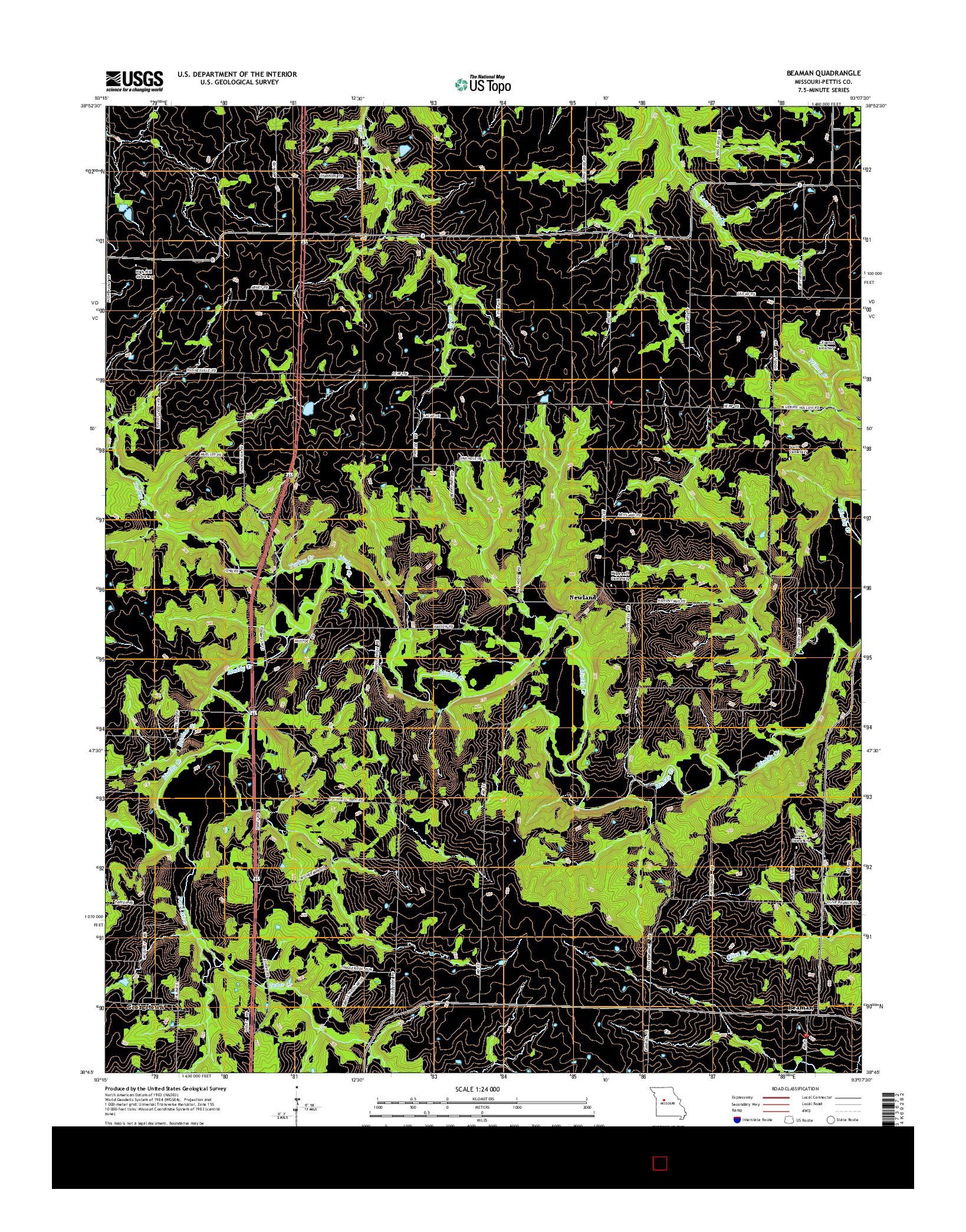 USGS US TOPO 7.5-MINUTE MAP FOR BEAMAN, MO 2014